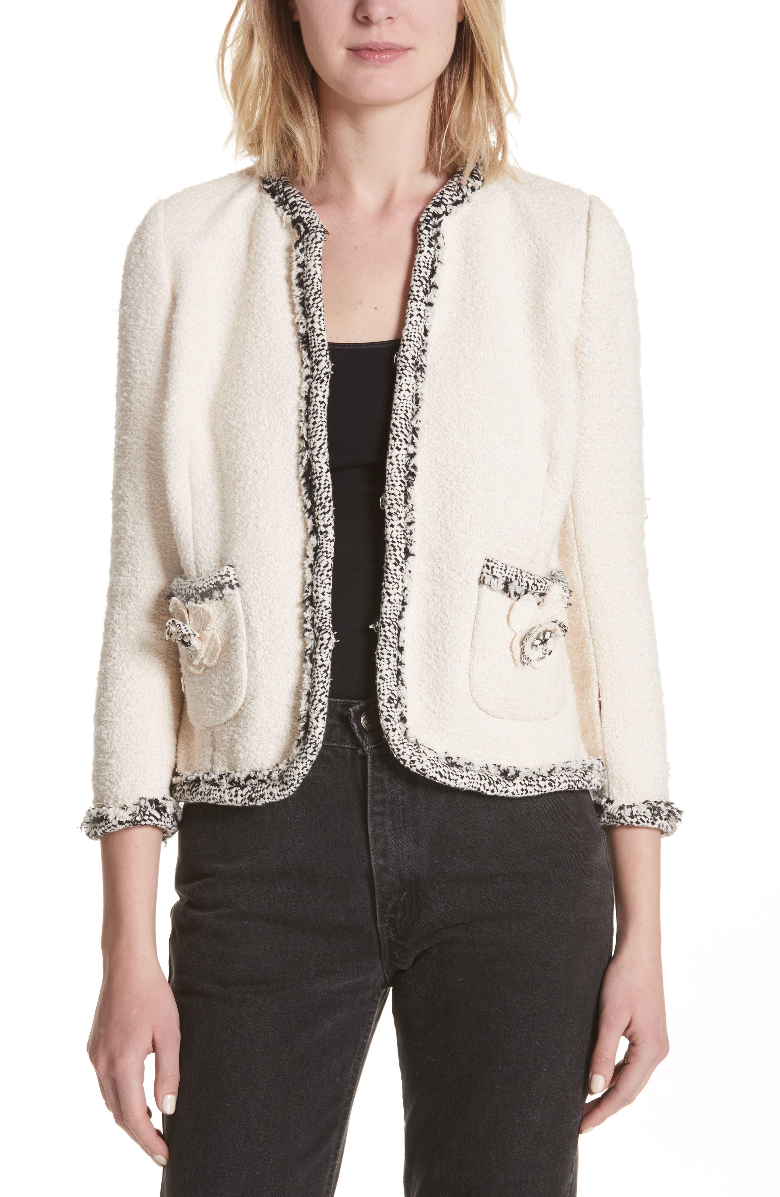 Rebecca Taylor Braided Trim Tweed Jacket