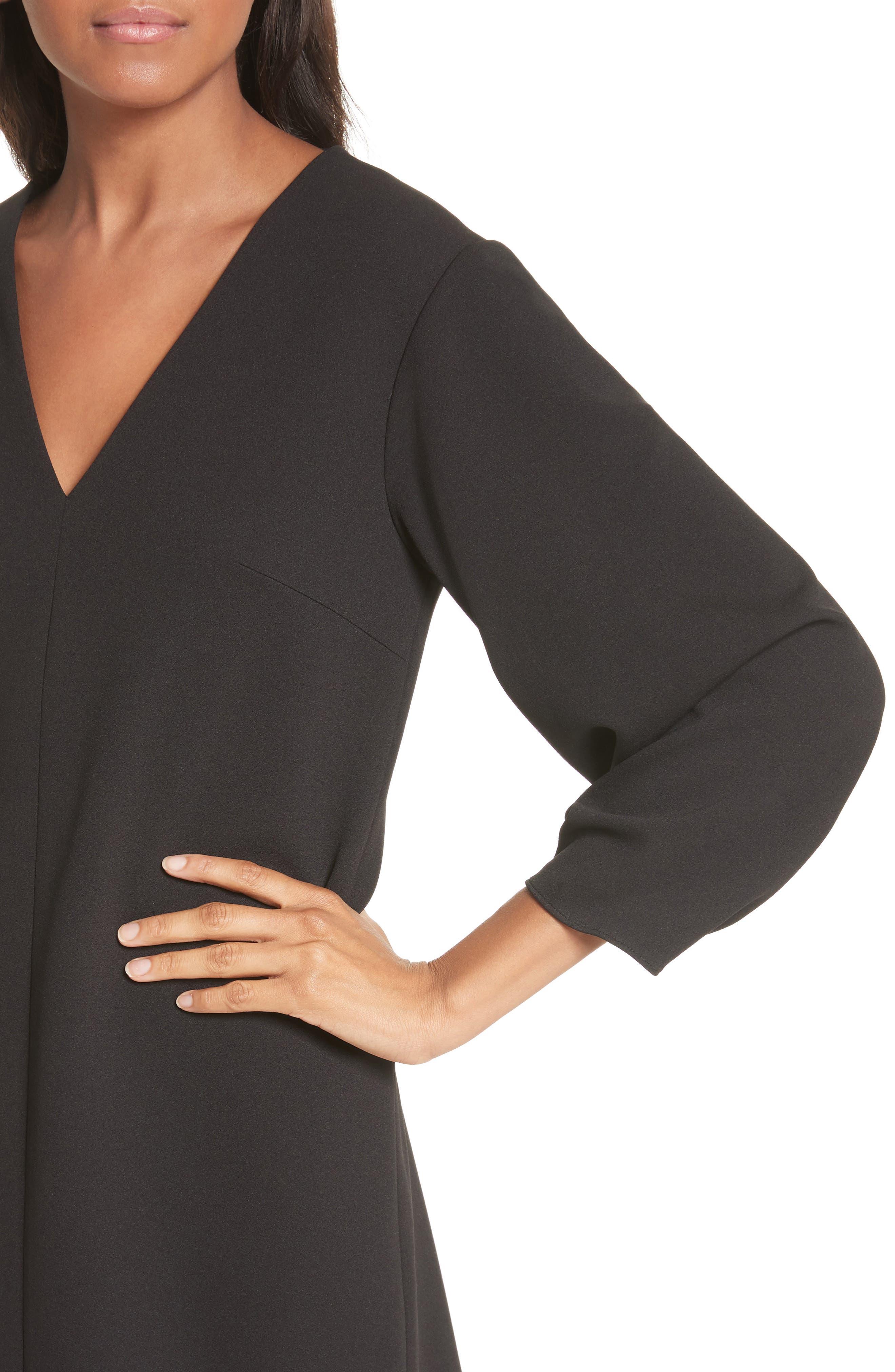 Crepe Balloon Sleeve Dress,                             Alternate thumbnail 4, color,                             Black