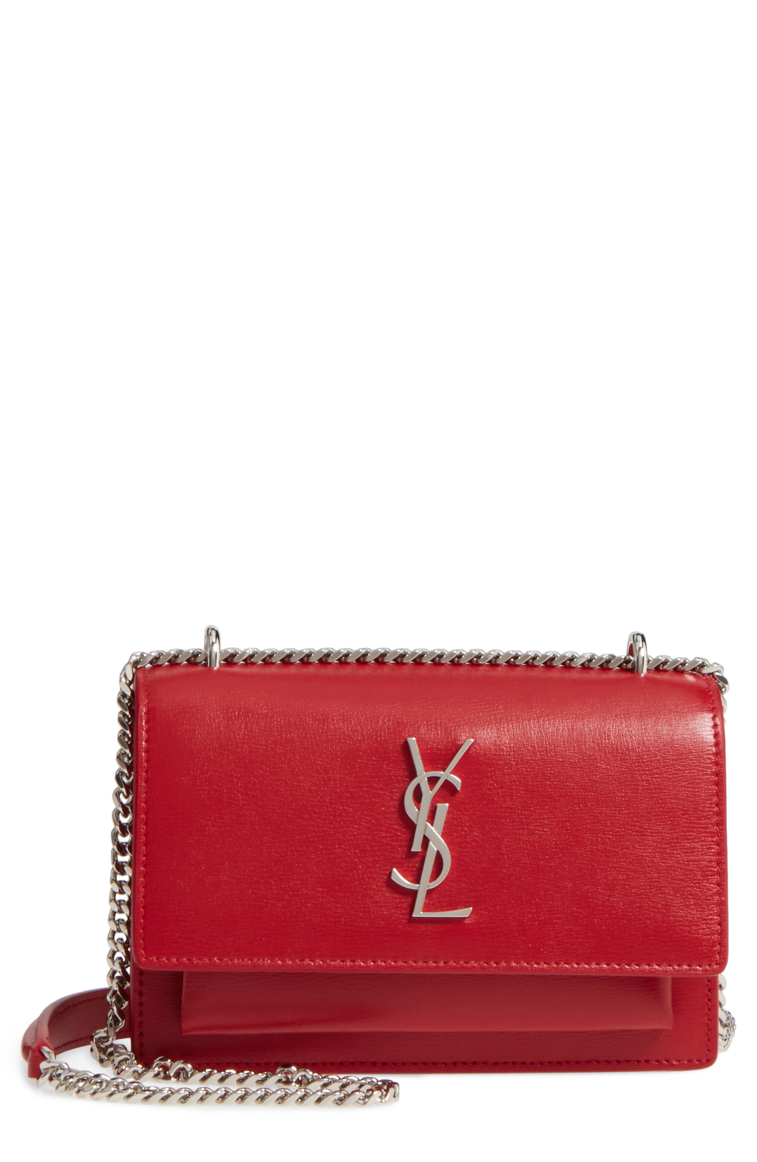 Saint Laurent Sunset Leather Wallet on a Chain