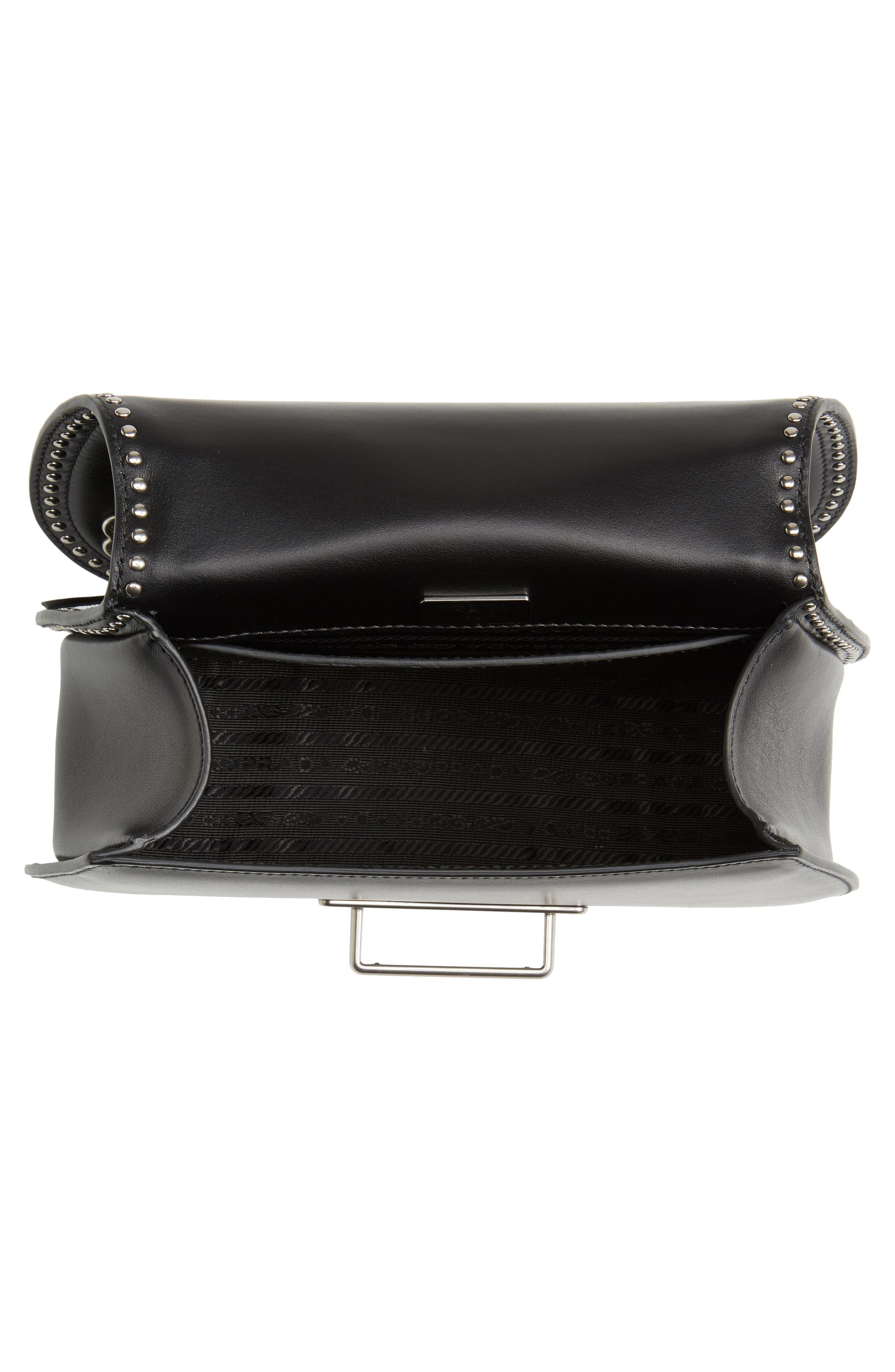 City Calfskin Saddle Bag,                             Alternate thumbnail 4, color,                             Nero