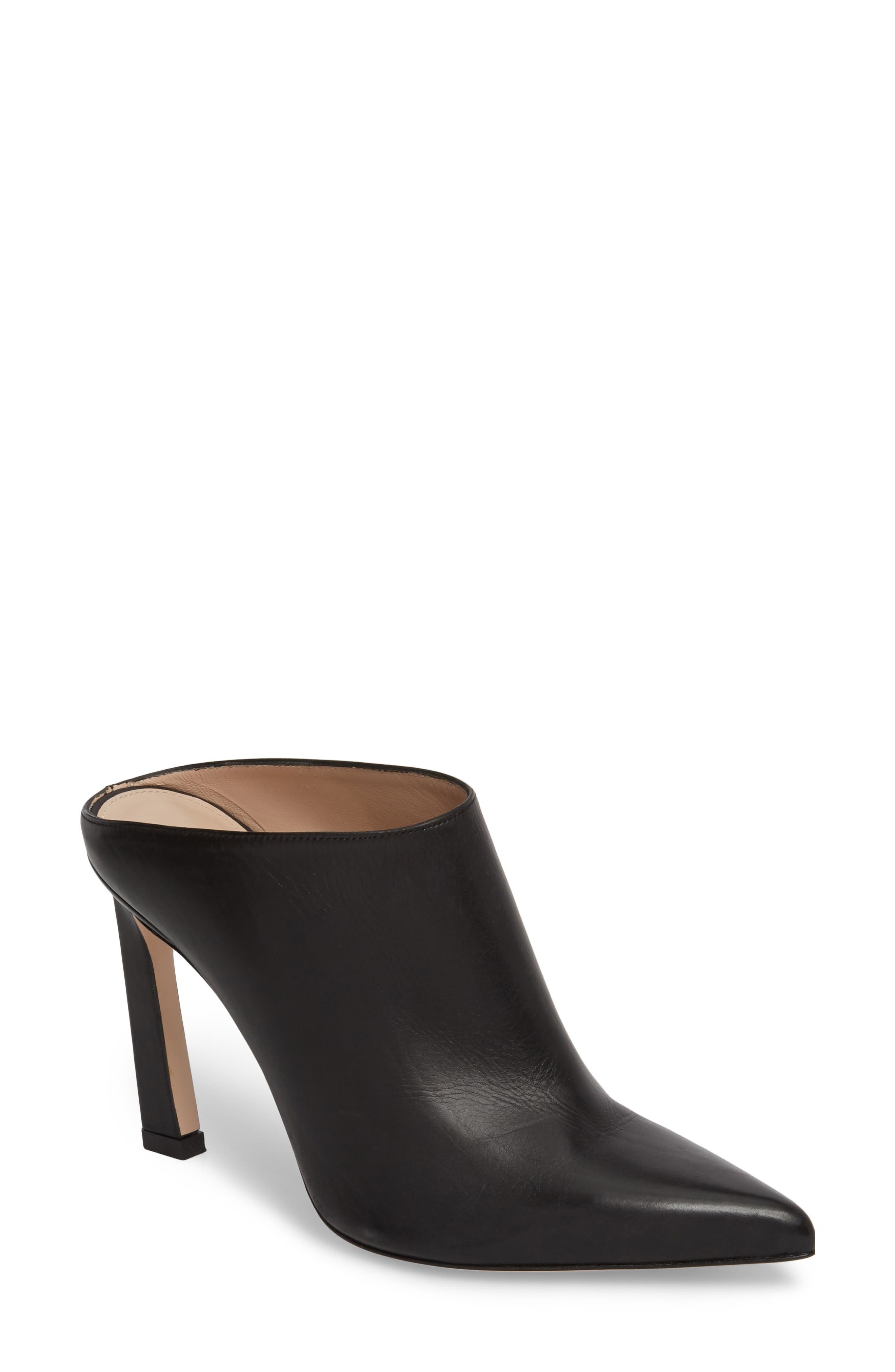 Camila Angle Heel Mule,                         Main,                         color, Nero Cush Nappa