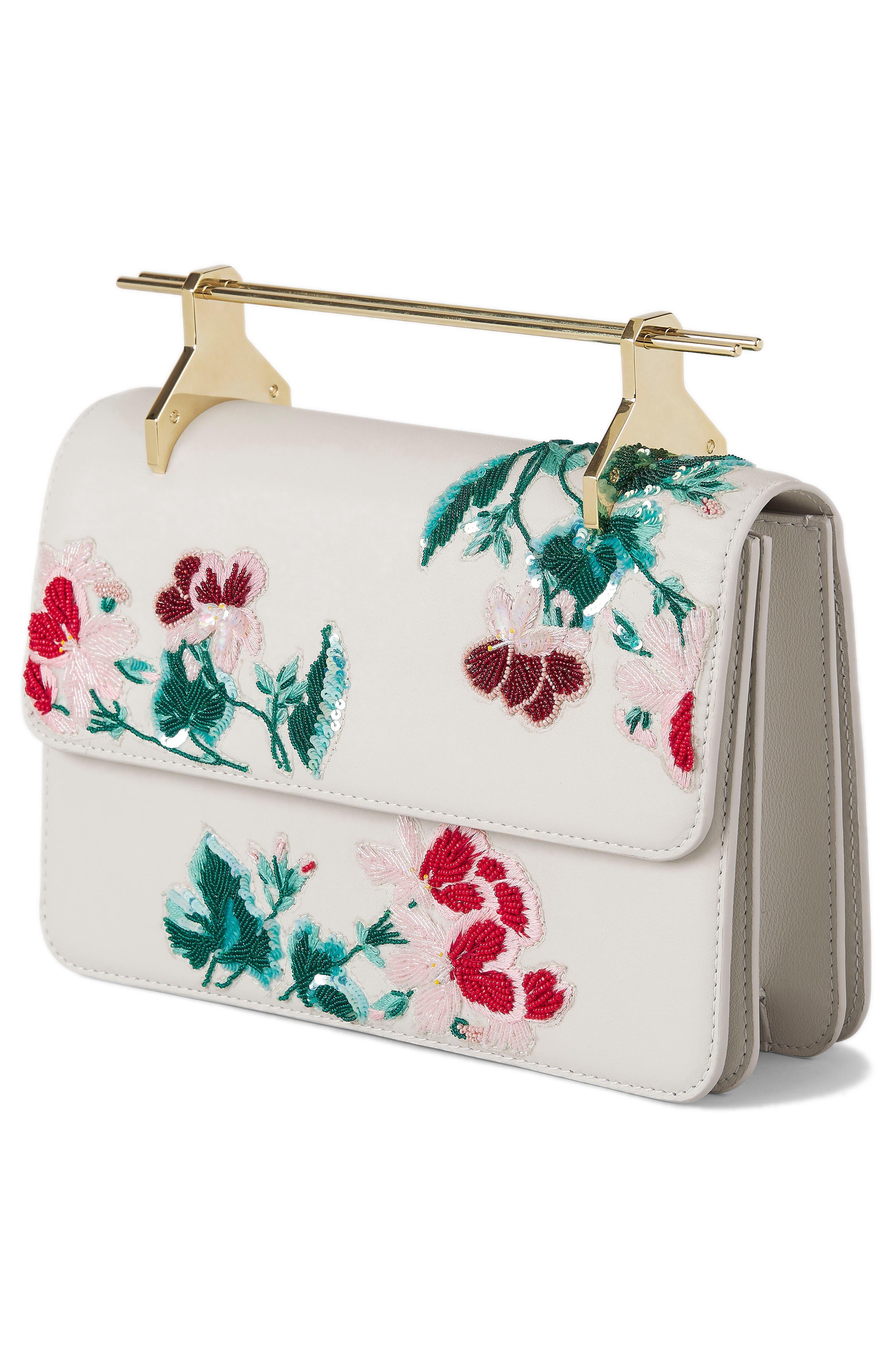 La Fleur du Mal Embellished Calfskin Leather Shoulder Bag,                             Alternate thumbnail 3, color,                             Pnk Mnt Btnical Embrdery Gld