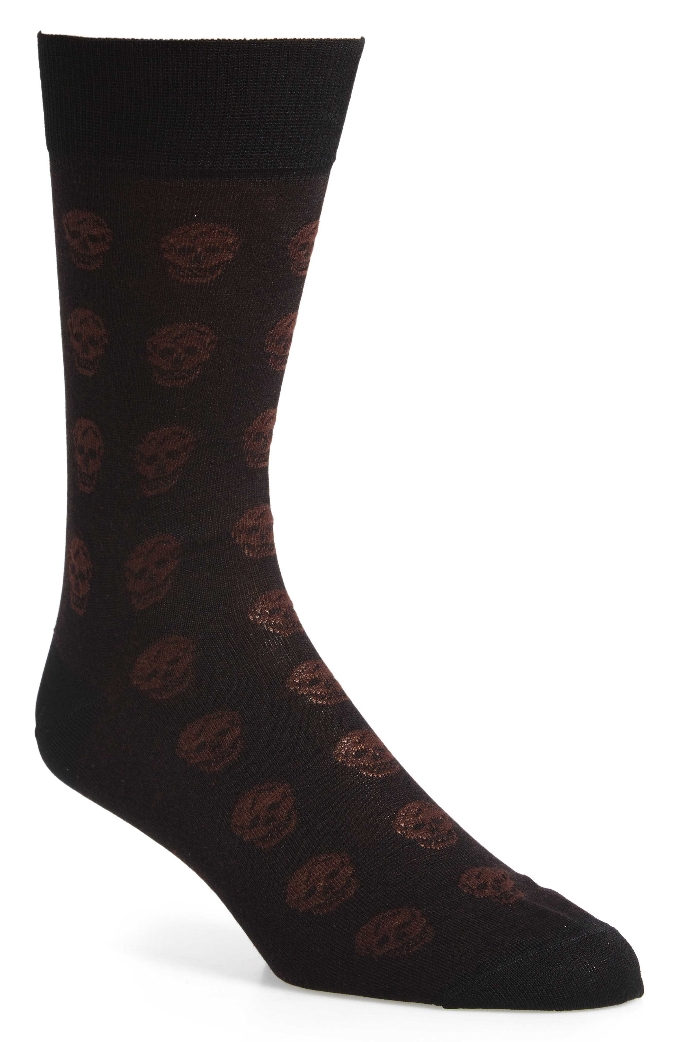 Skull Socks,                             Main thumbnail 1, color,                             Black/ Beige