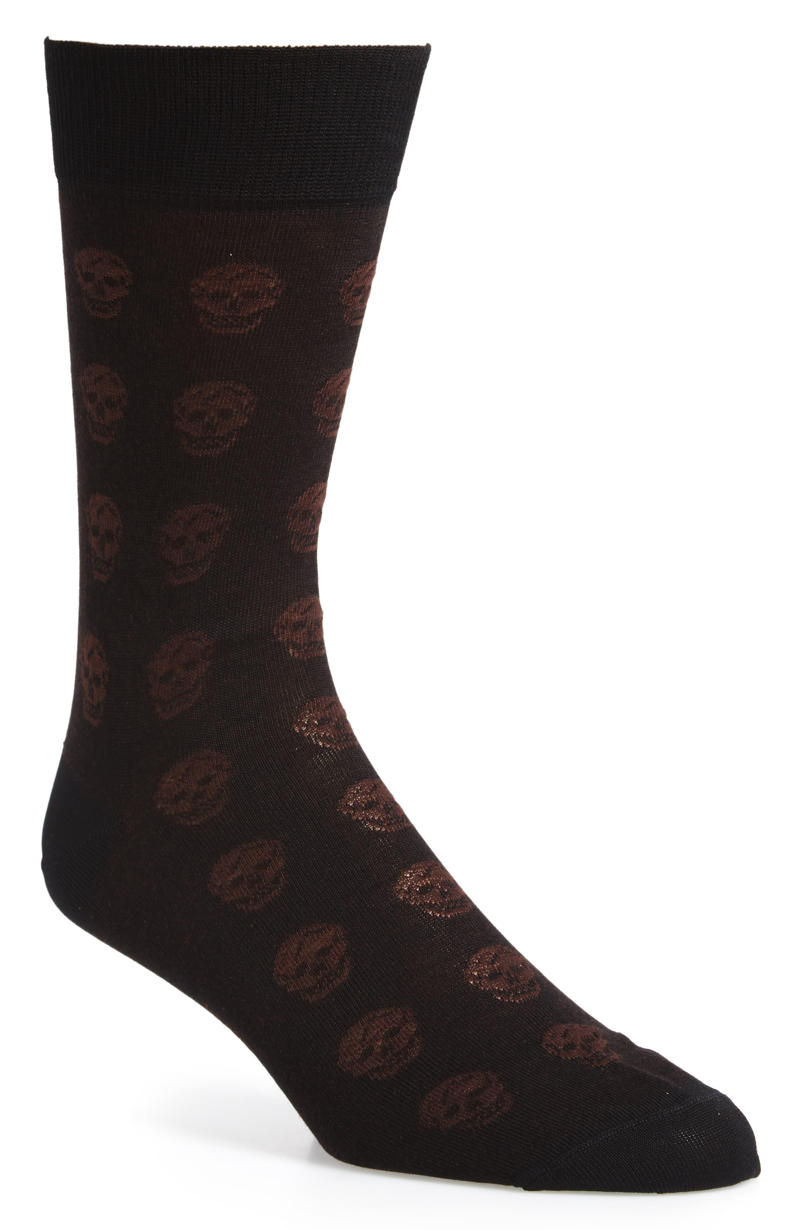 Skull Socks,                         Main,                         color, Black/ Beige