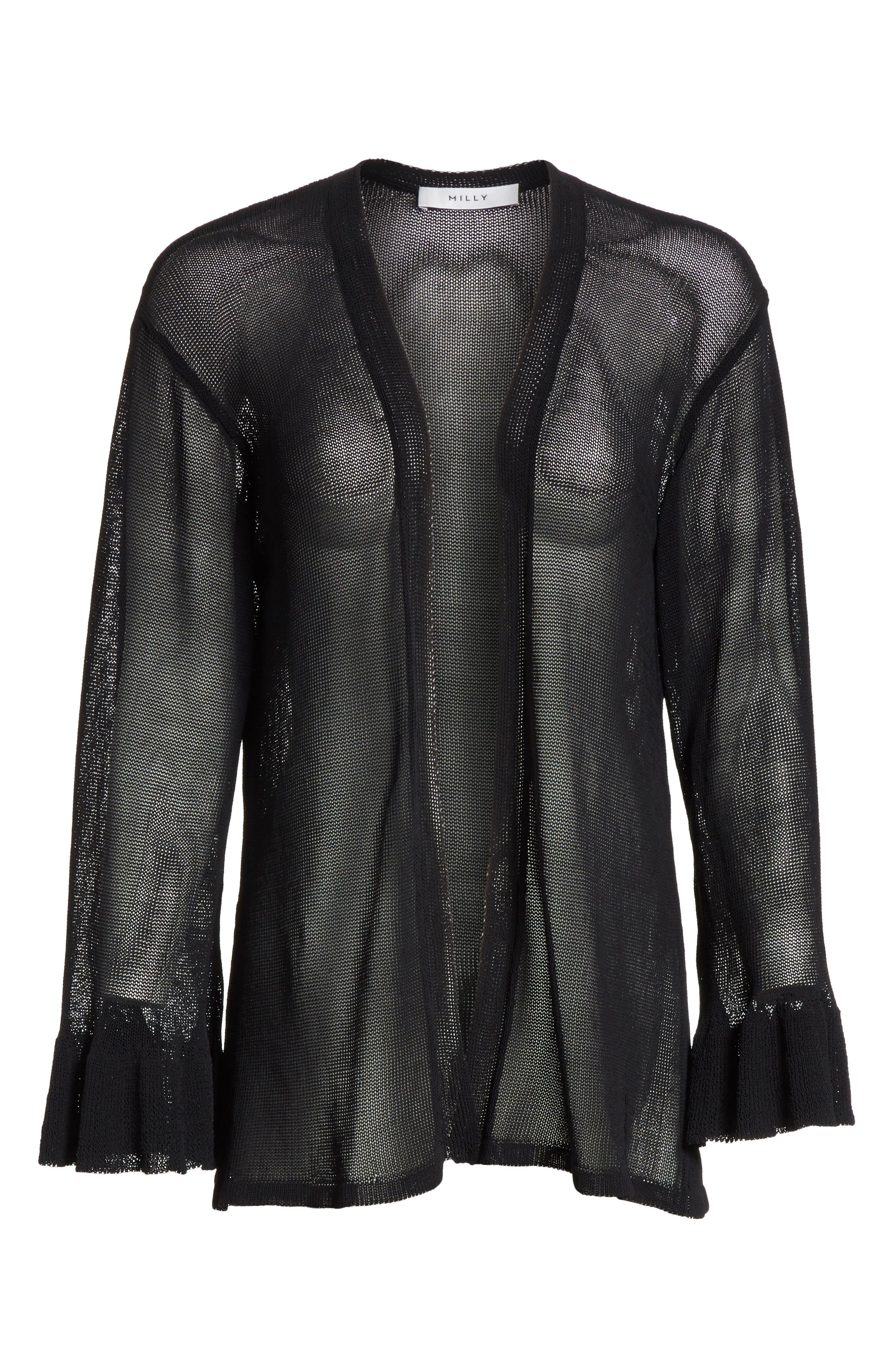 Ruffle Sleeve Italian Mesh Cardigan,                             Alternate thumbnail 6, color,                             Black