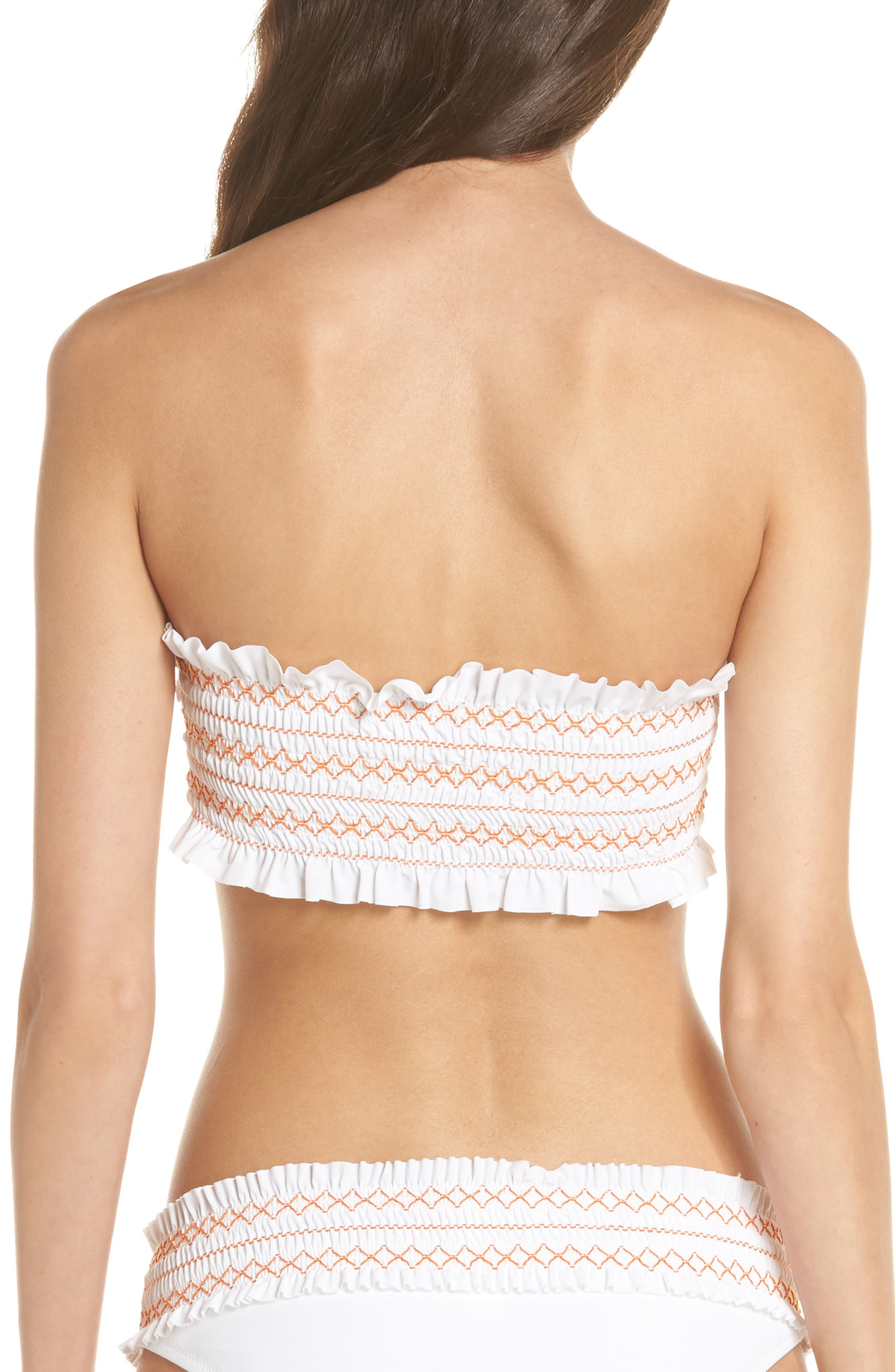 Costa Bandeau Bikini Top,                             Alternate thumbnail 2, color,                             White/ Fresh Melon