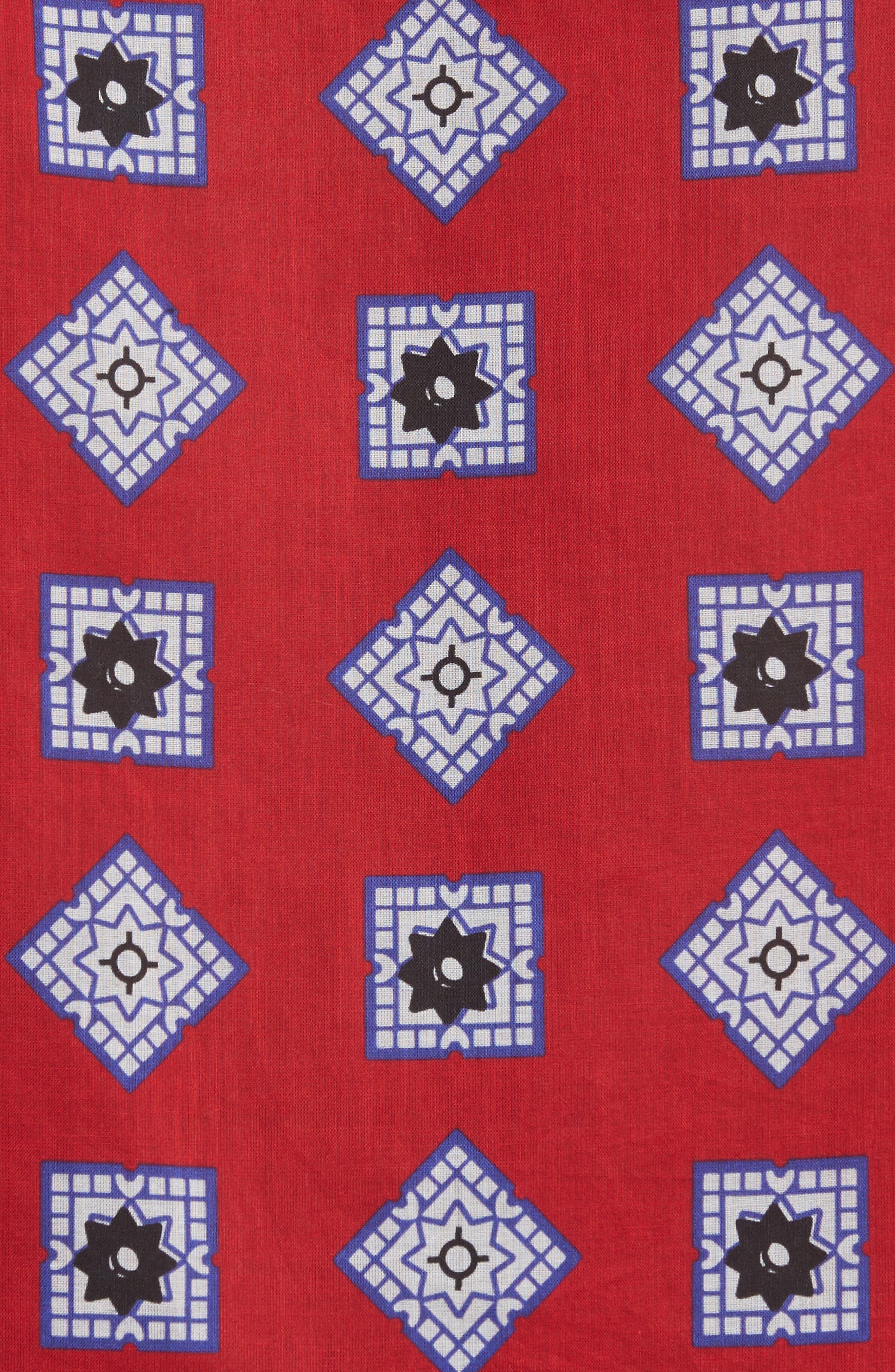 Muslin Print Camp Shirt,                             Alternate thumbnail 5, color,                             Red