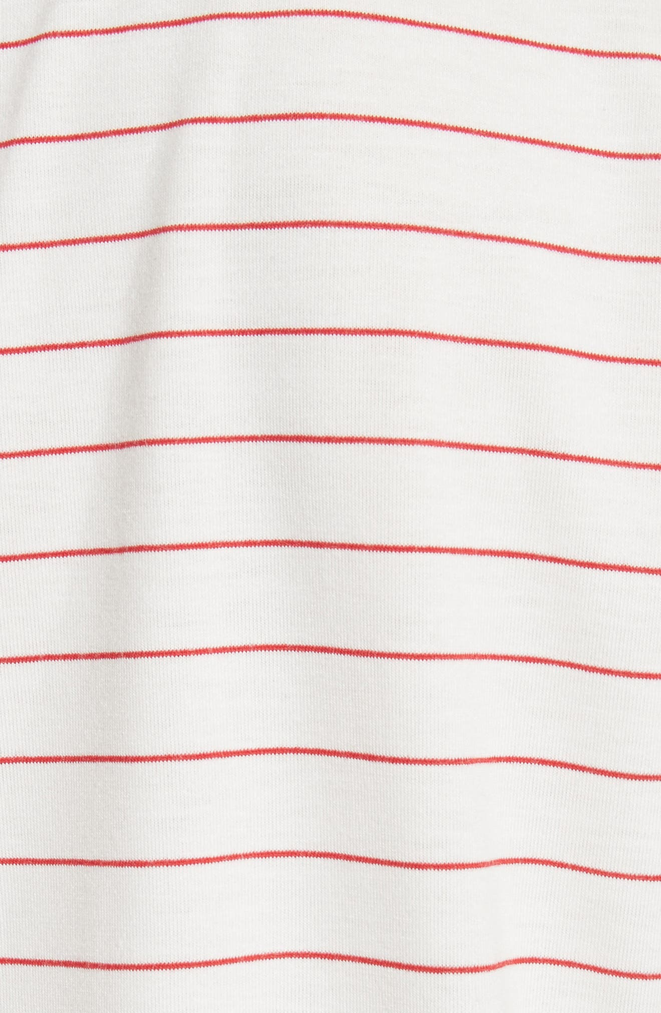 Stripe Crewneck T-Shirt,                             Alternate thumbnail 5, color,                             White/ Red