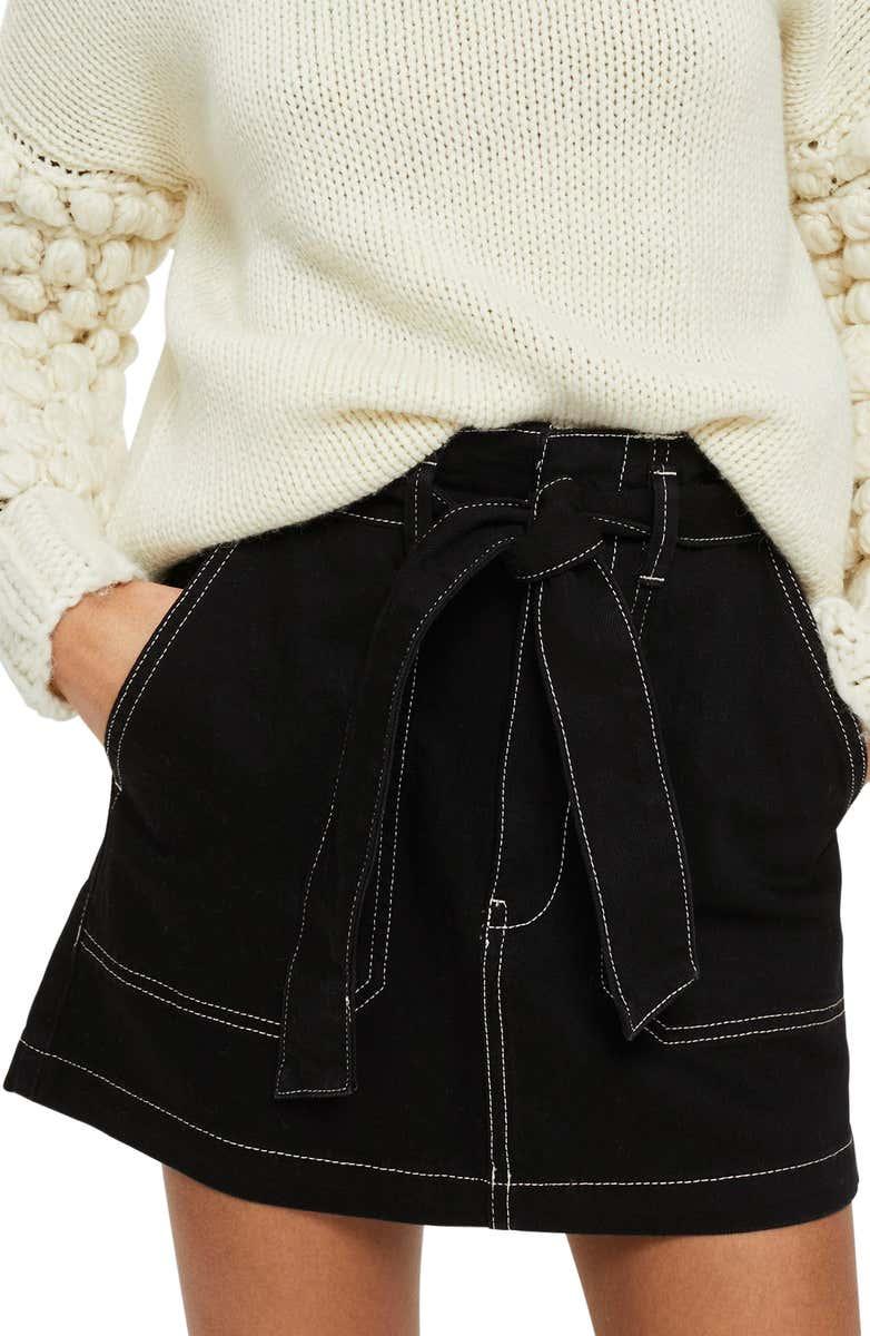 Stitch Detail Belted Denim Skirt