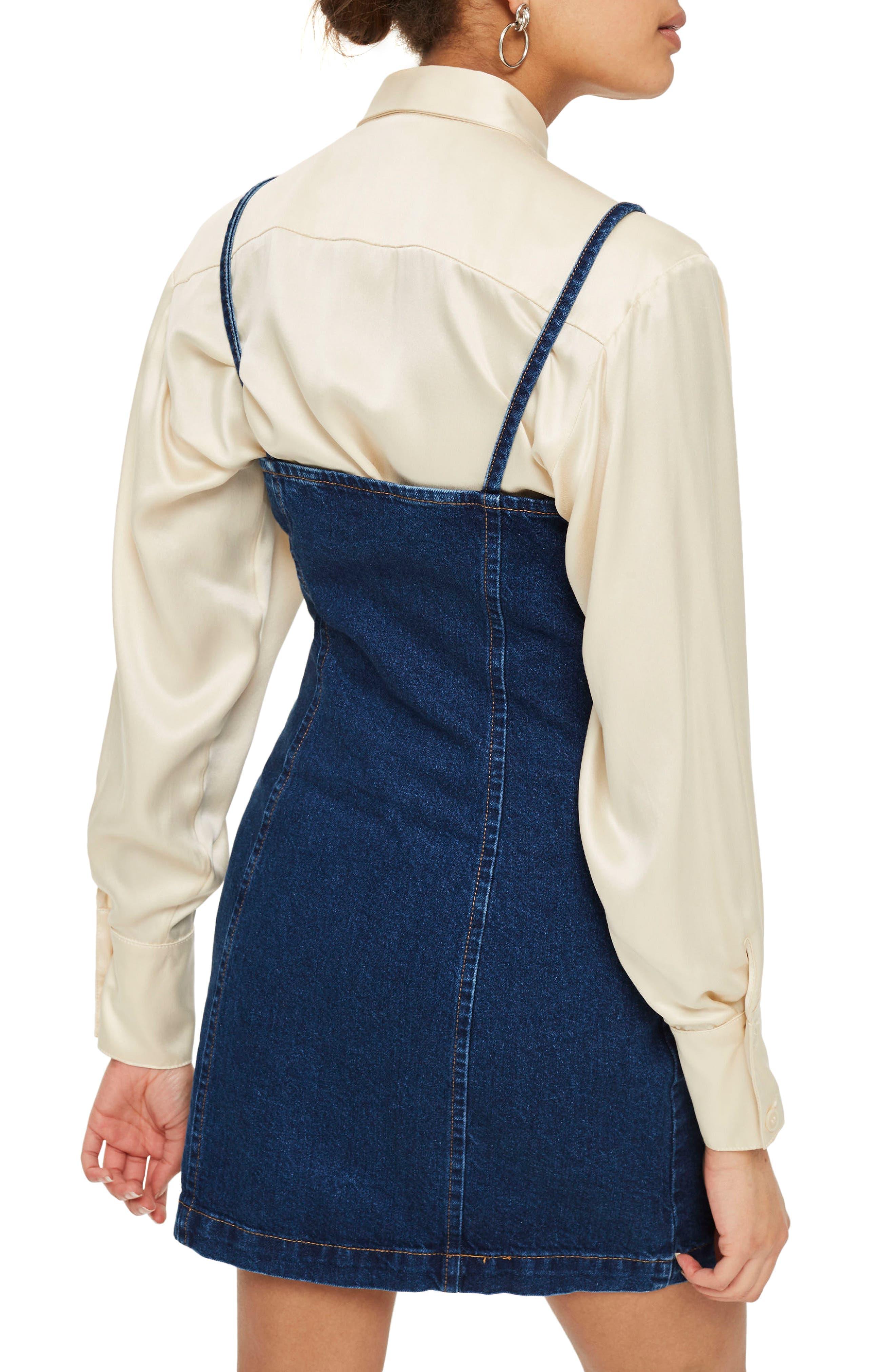 Zip Through Denim Body-Con Dress,                             Alternate thumbnail 2, color,                             Mid Denim