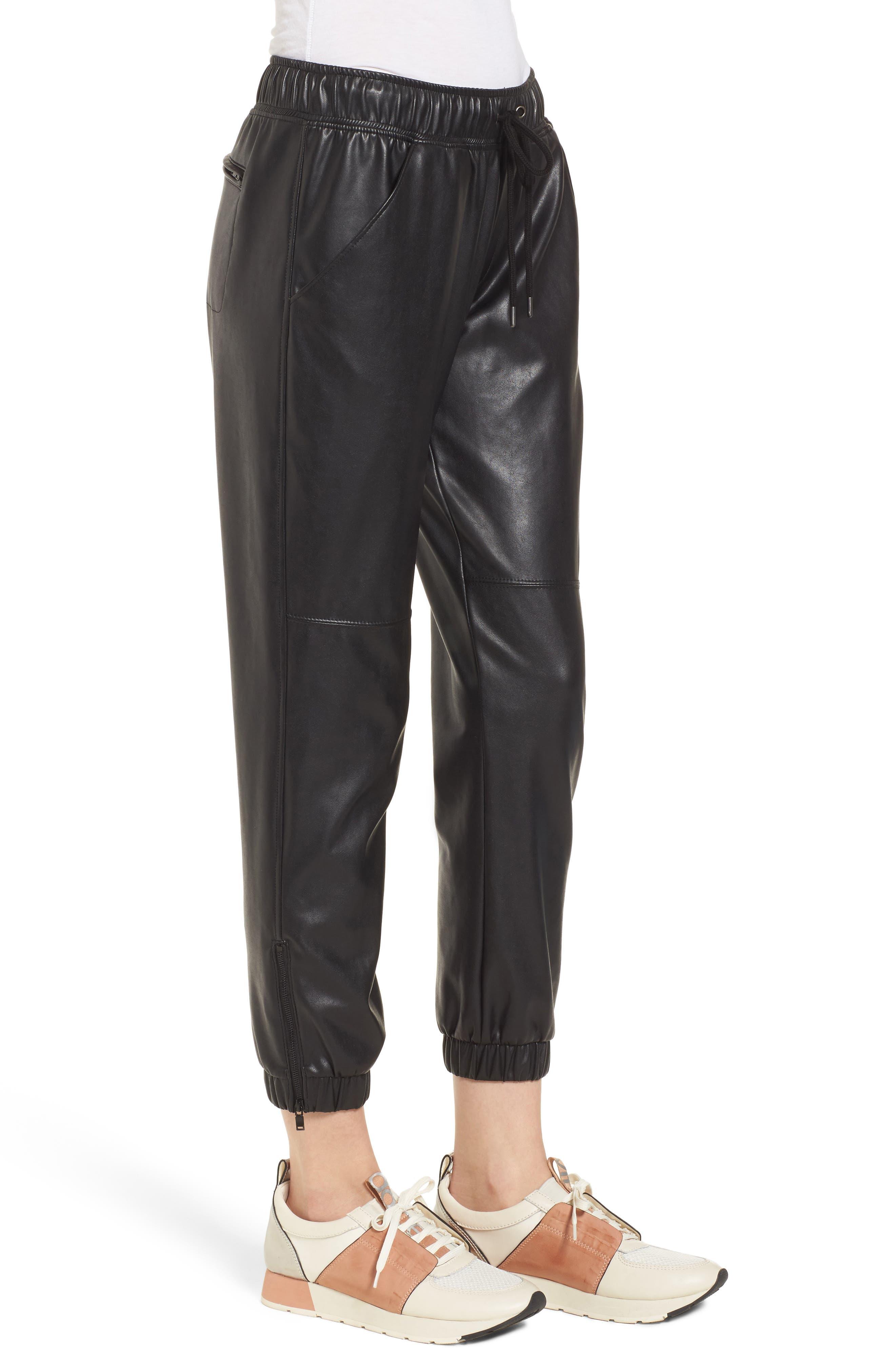 Ankle Zip Jogger Pants,                             Alternate thumbnail 3, color,                             Black