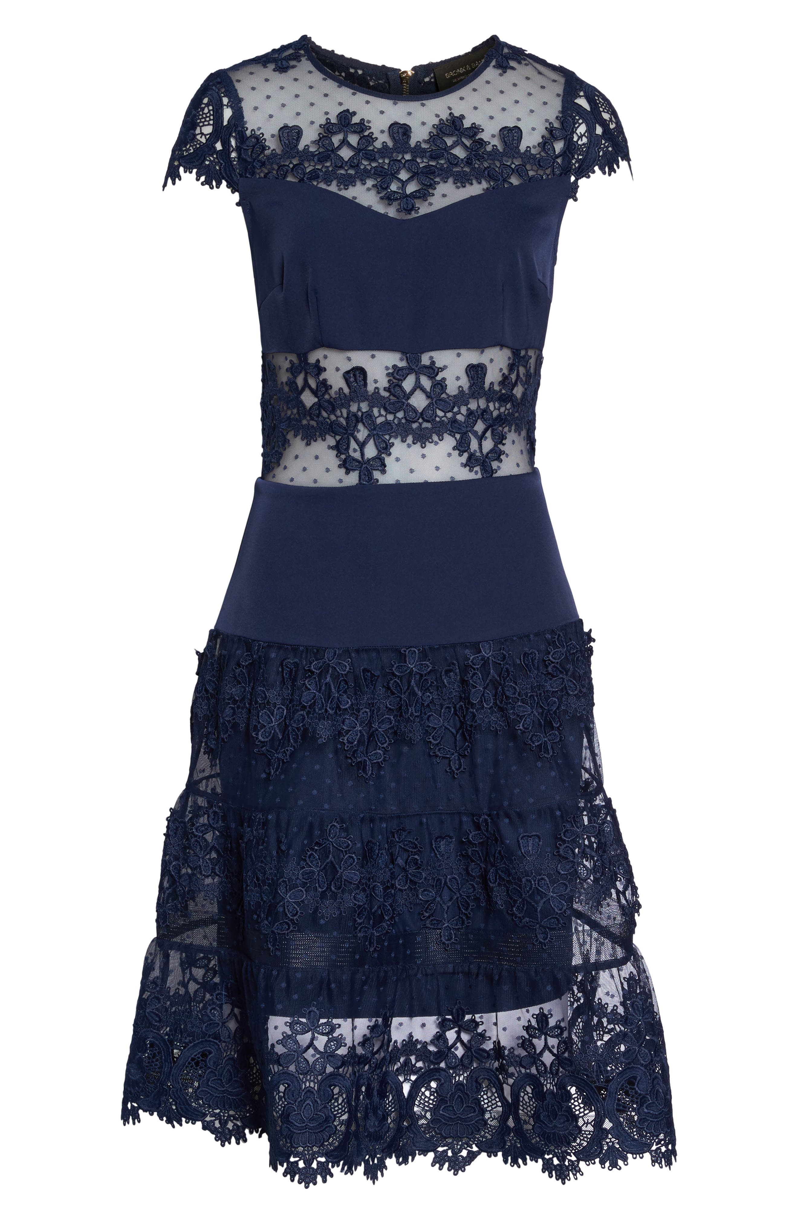 Flamenco Lace Inset Fit & Flare Dress,                             Alternate thumbnail 7, color,                             Navy