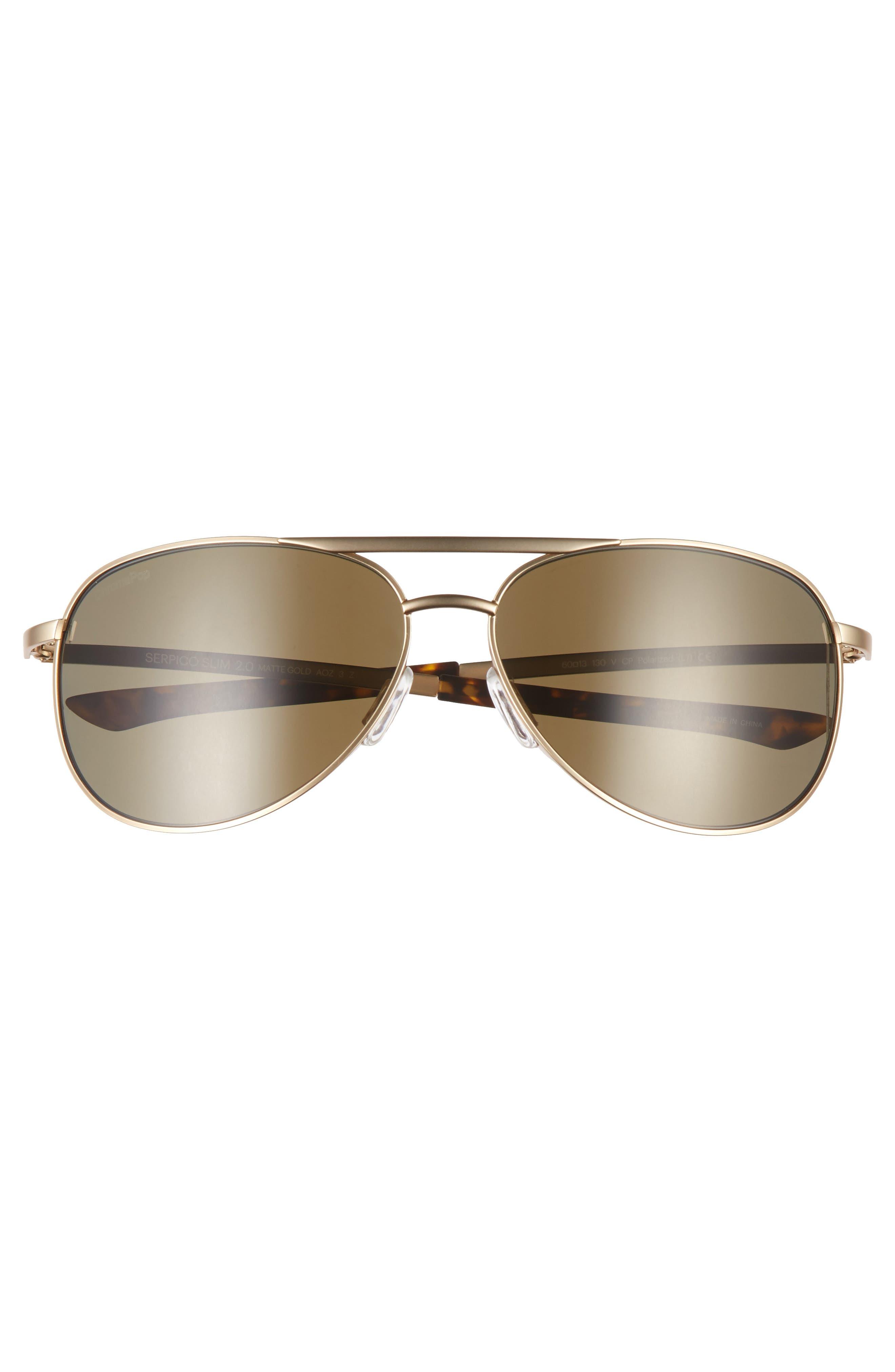 Serpico Slim 2.0 60mm ChromaPop Polarized Aviator Sunglasses,                             Alternate thumbnail 3, color,                             Gold/ Brown Polar