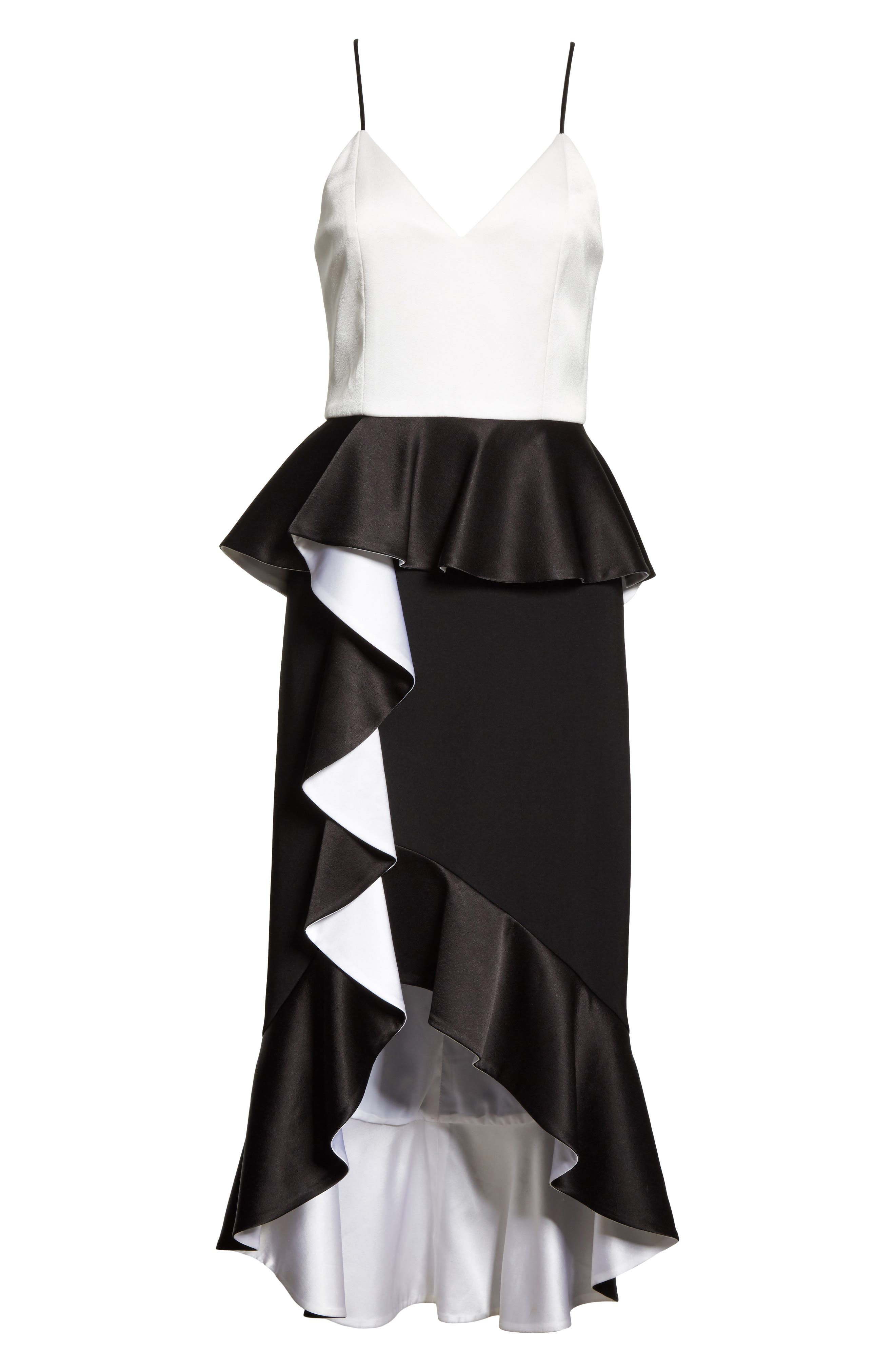 Oriana Ruffled High/Low Dress,                             Alternate thumbnail 6, color,                             Black/ Off White