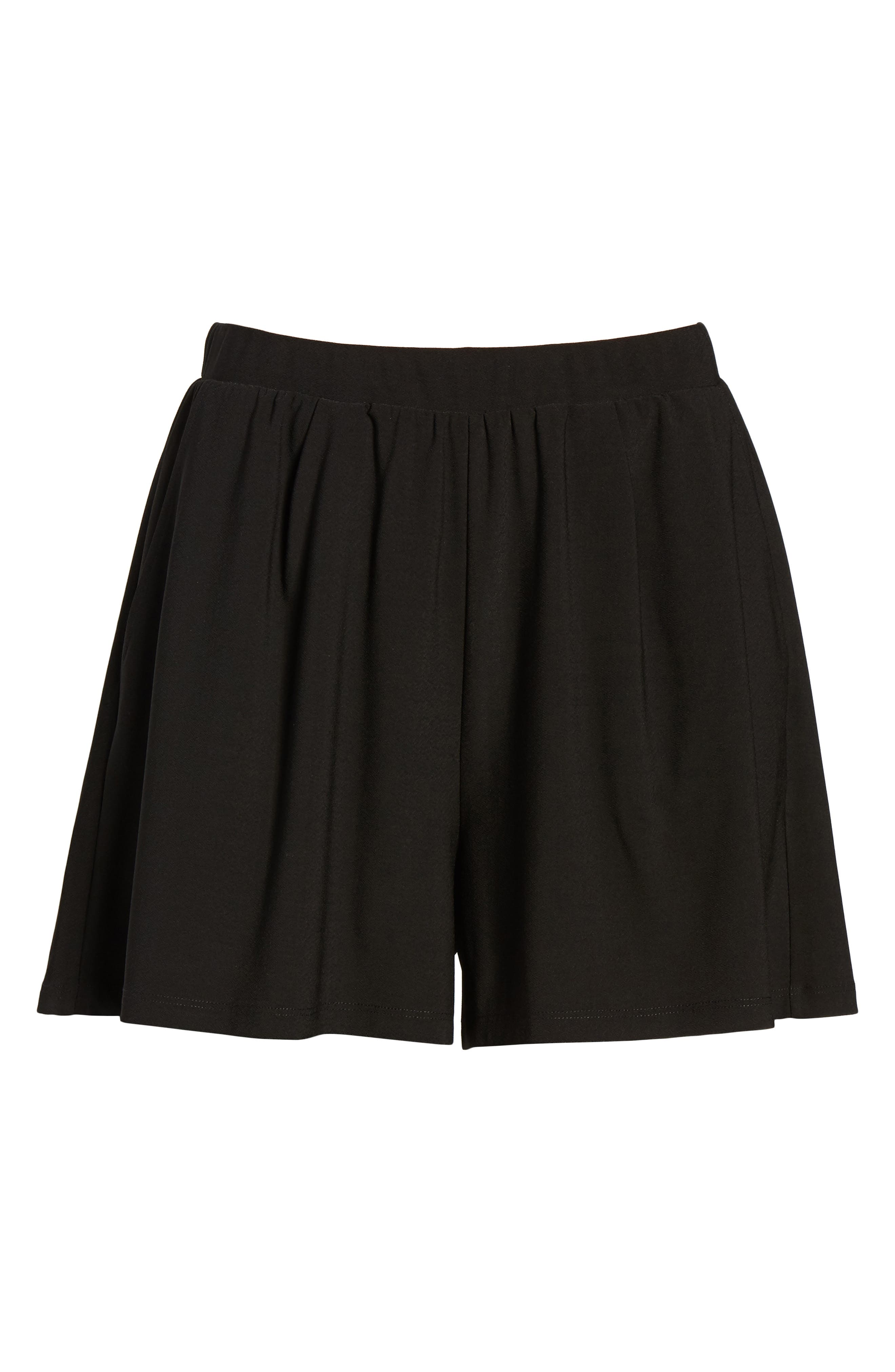Pleat Front Shorts,                             Alternate thumbnail 6, color,                             Black