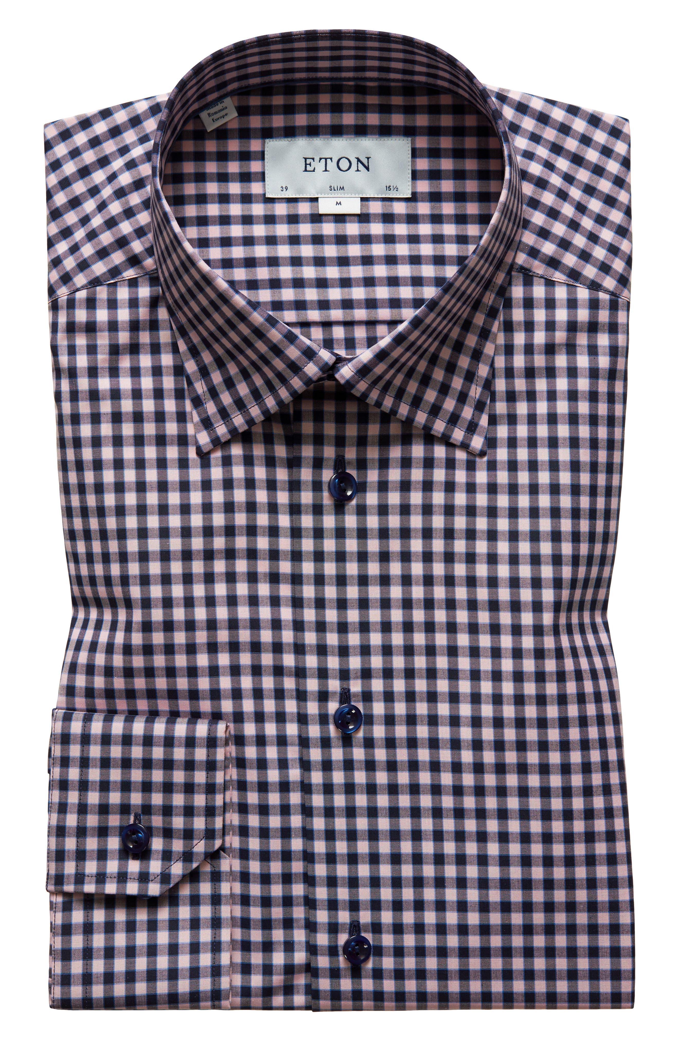 Slim Fit Check Dress Shirt,                         Main,                         color, Pink