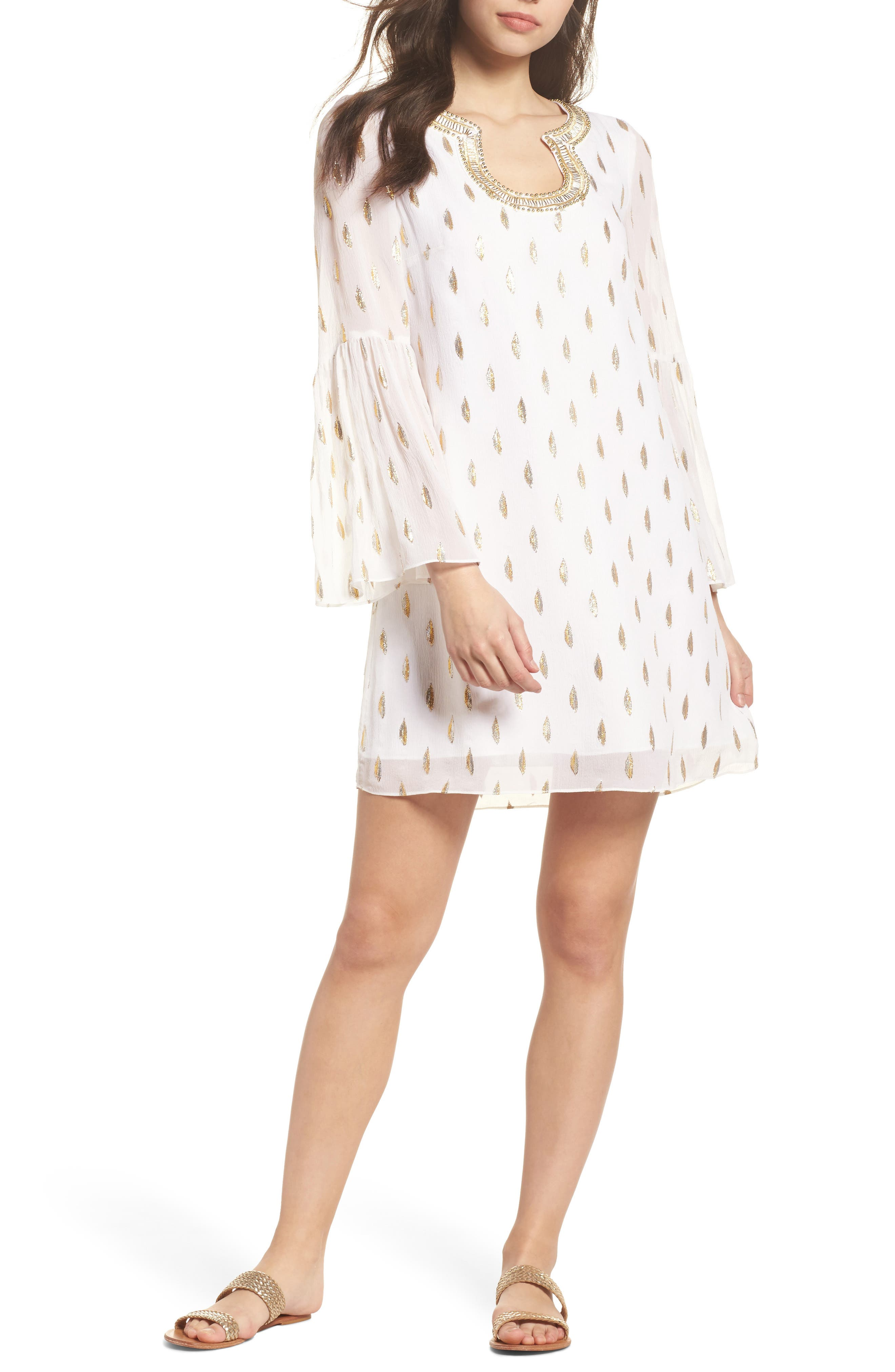 Amory Silk Tunic Dress,                         Main,                         color, Resort White Diamond Metallic