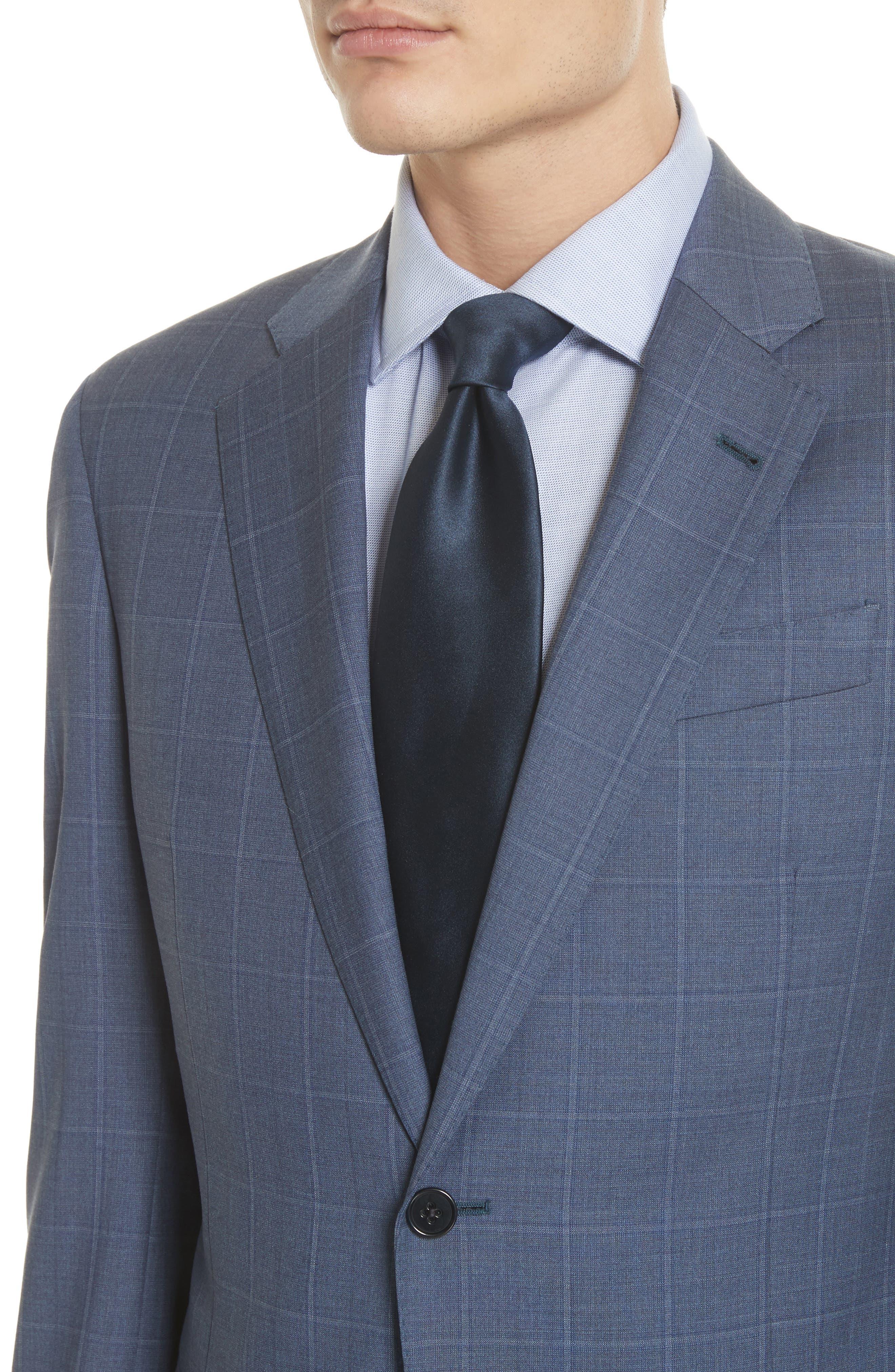 G Line Trim Fit Windowpane Wool Suit,                             Alternate thumbnail 4, color,                             Blue