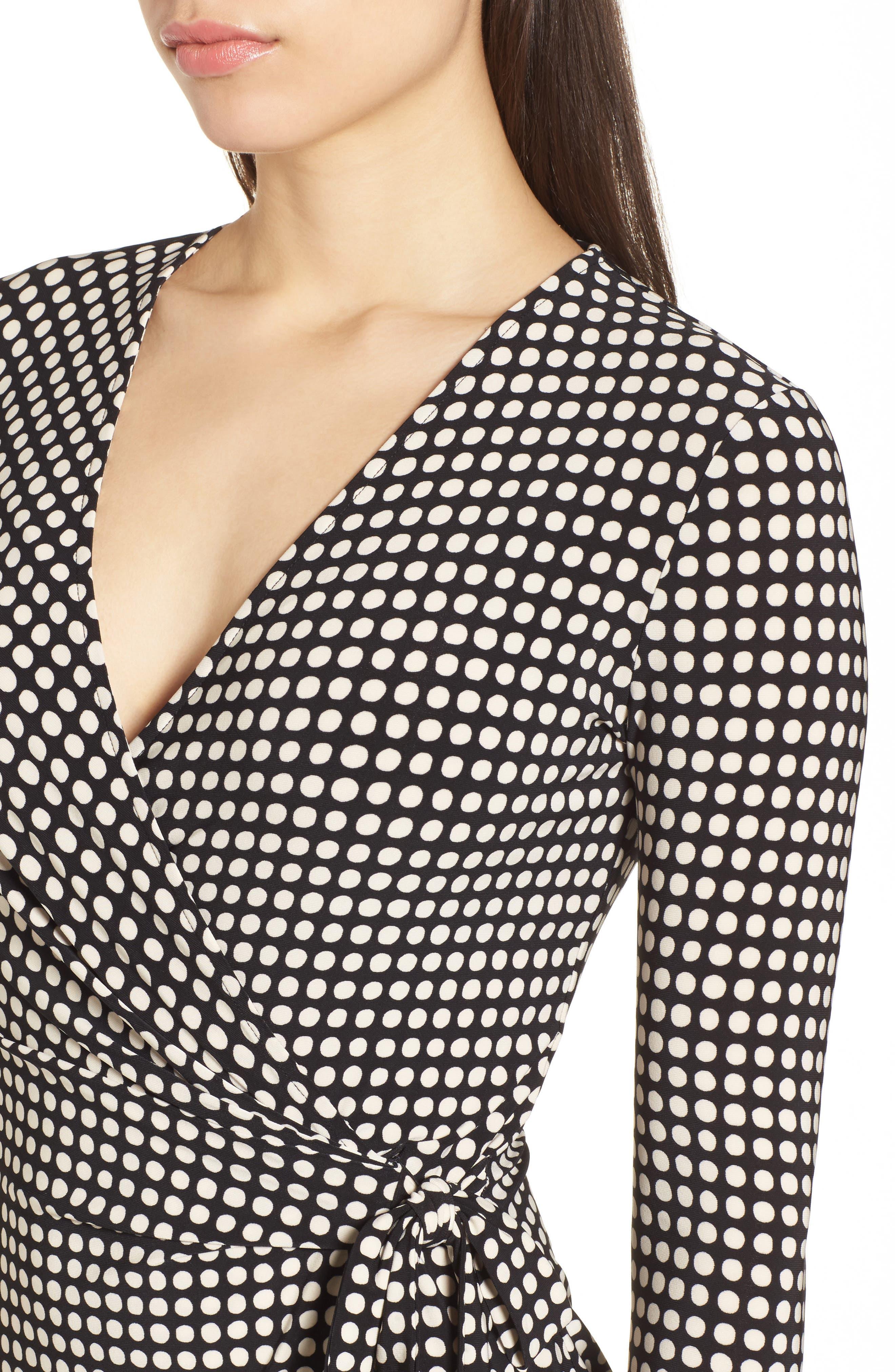 New York Pearly Dot Classic Wrap Dress,                             Alternate thumbnail 4, color,                             Black/ Parchment