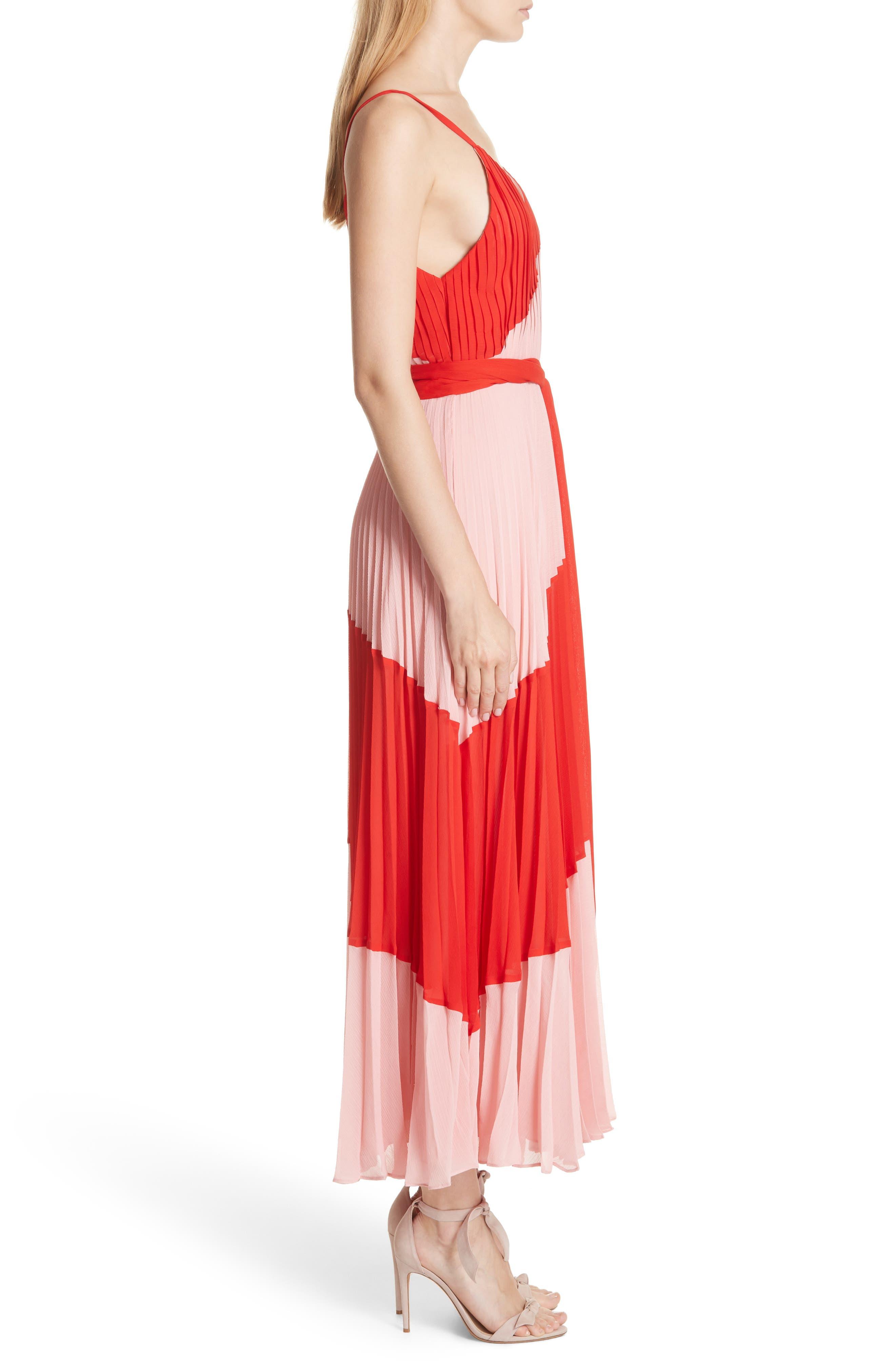 Rozlyn Pleat Colorblock Maxi Dress,                             Alternate thumbnail 3, color,                             Perfect Poppy/ Blossom