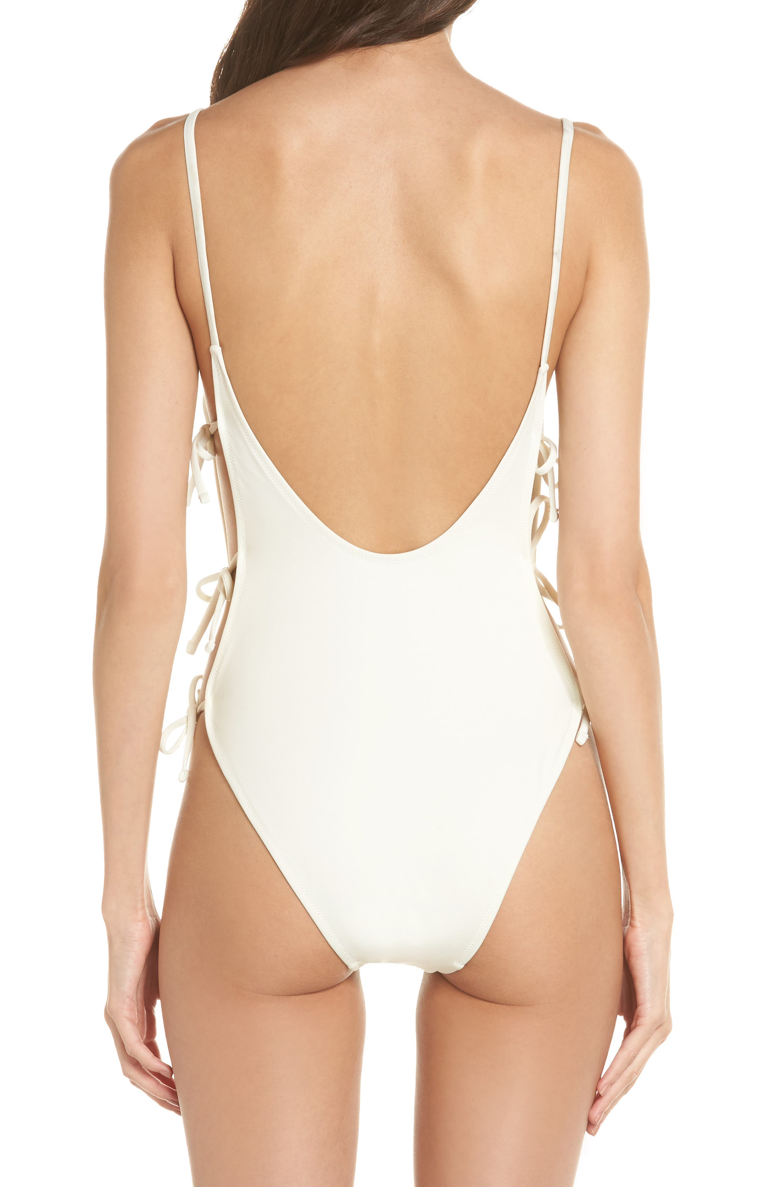 The Lily One-Piece Swimsuit,                             Alternate thumbnail 2, color,                             Ivory