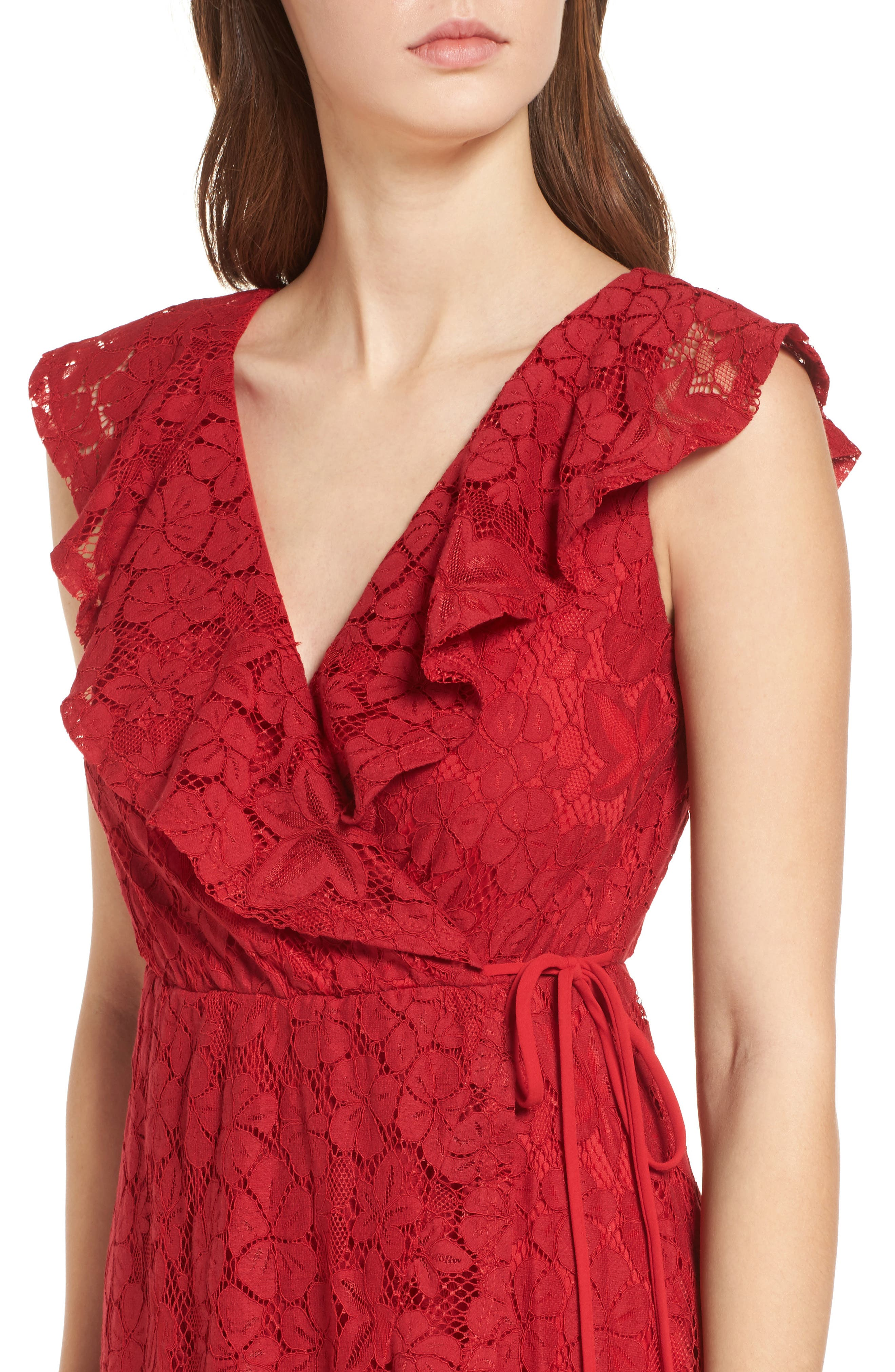 Ruffle Lace Wrap Dress,                             Alternate thumbnail 4, color,                             Red