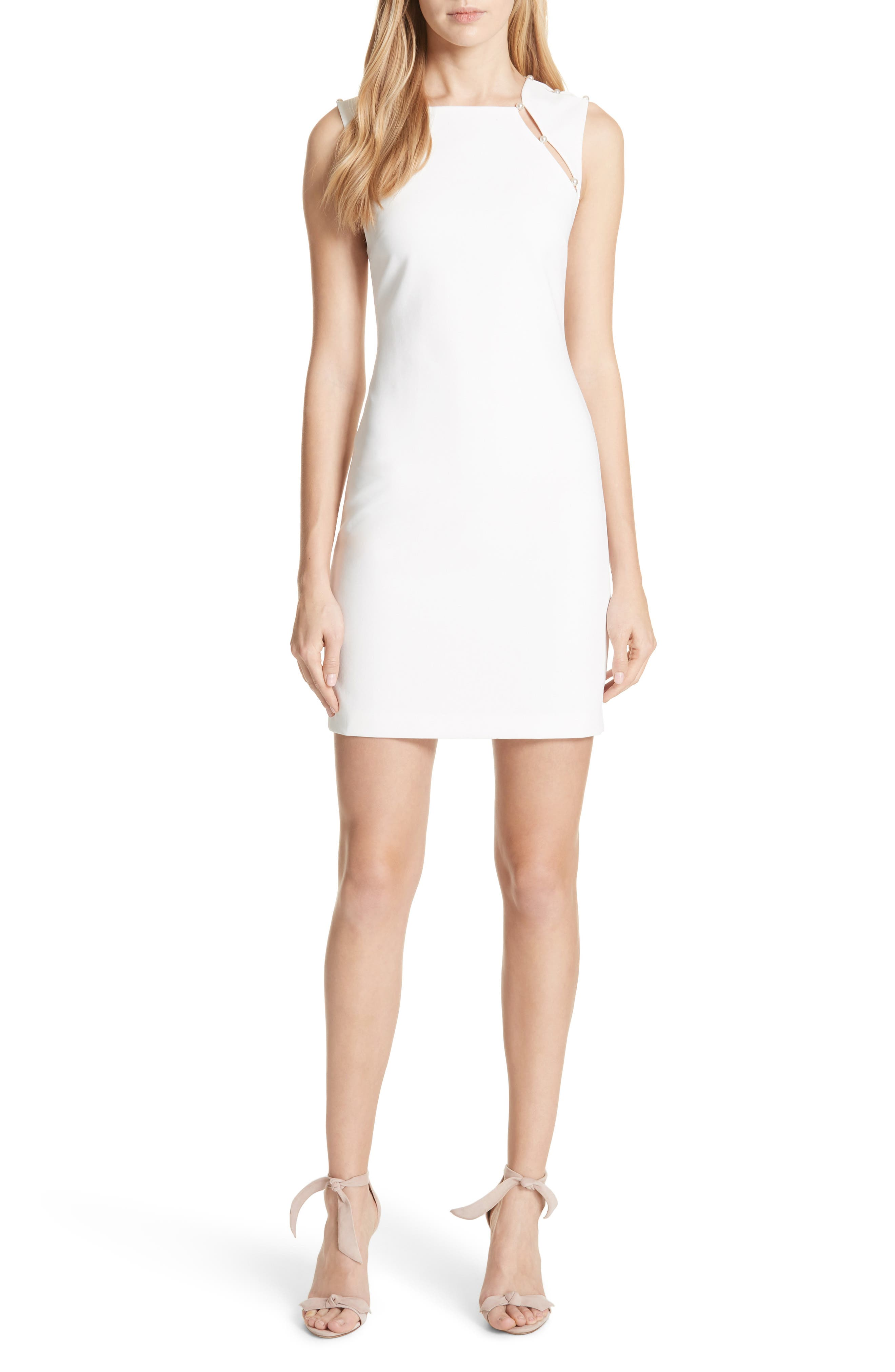 Main Image - Alice + Olivia Kristiana Button Detail Fitted Dress