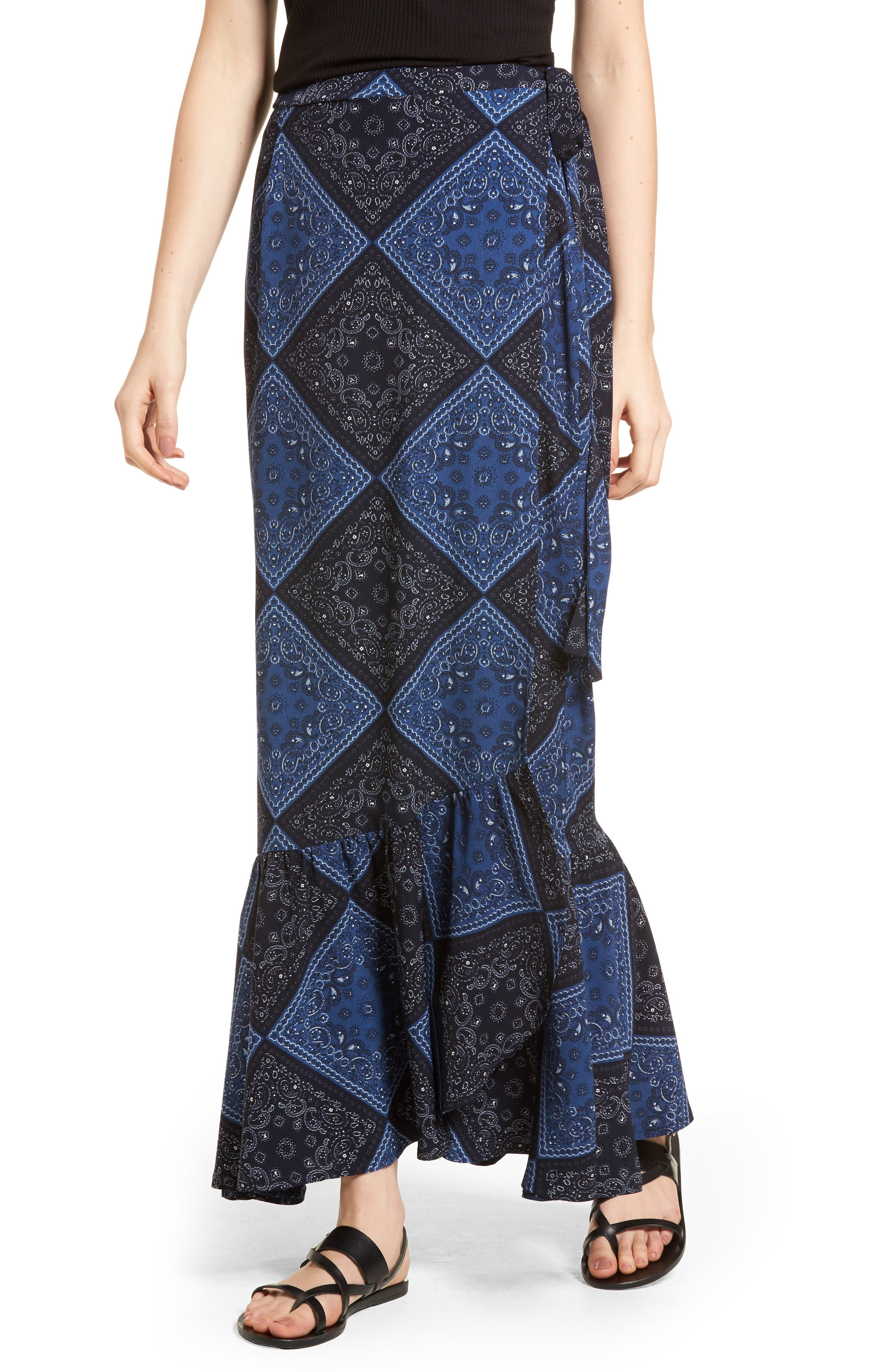 Elsa Bandana Print Skirt,                         Main,                         color, Navy