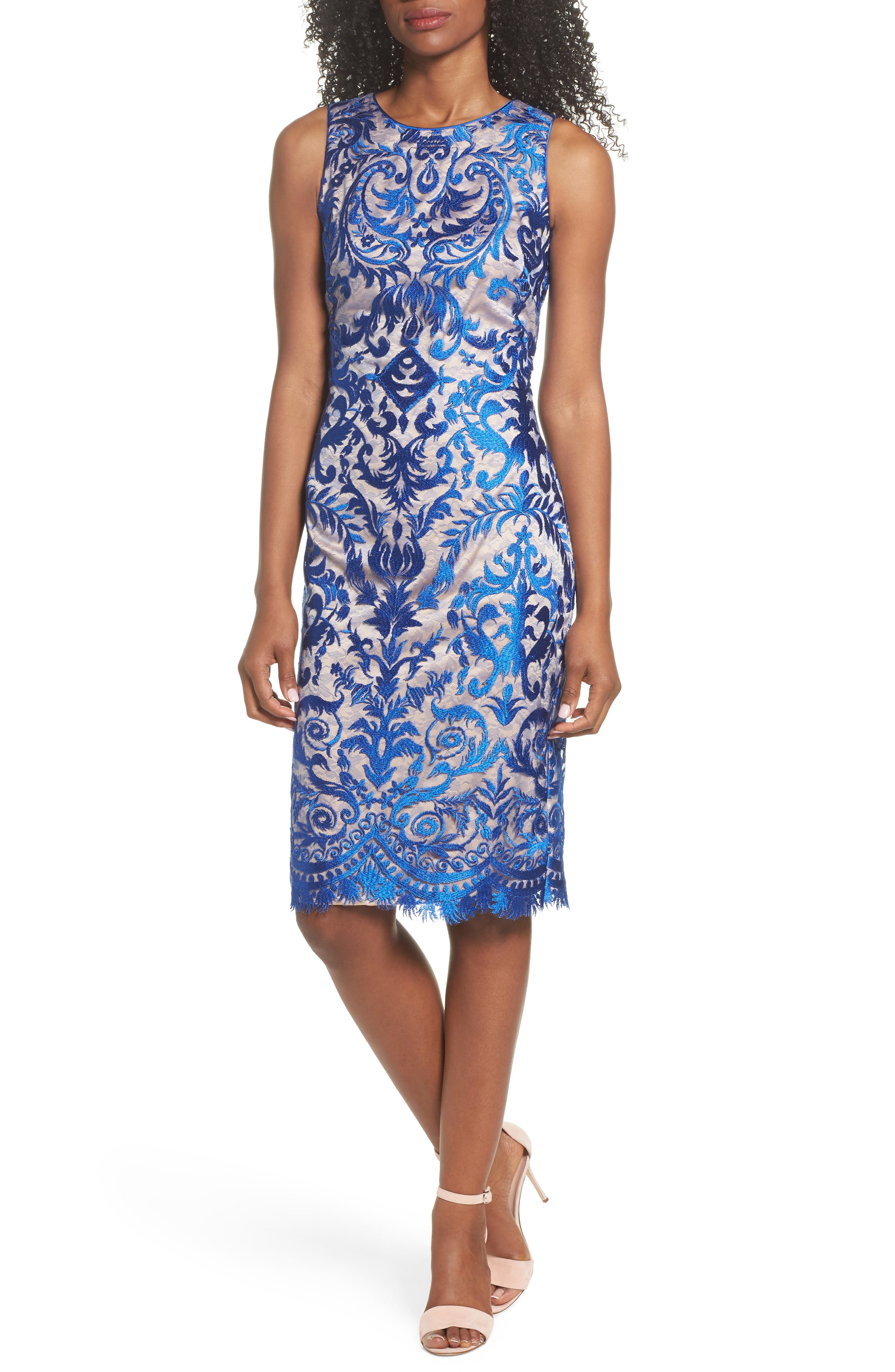 Embroidered Mesh Sheath Dress,                             Main thumbnail 1, color,                             Royal