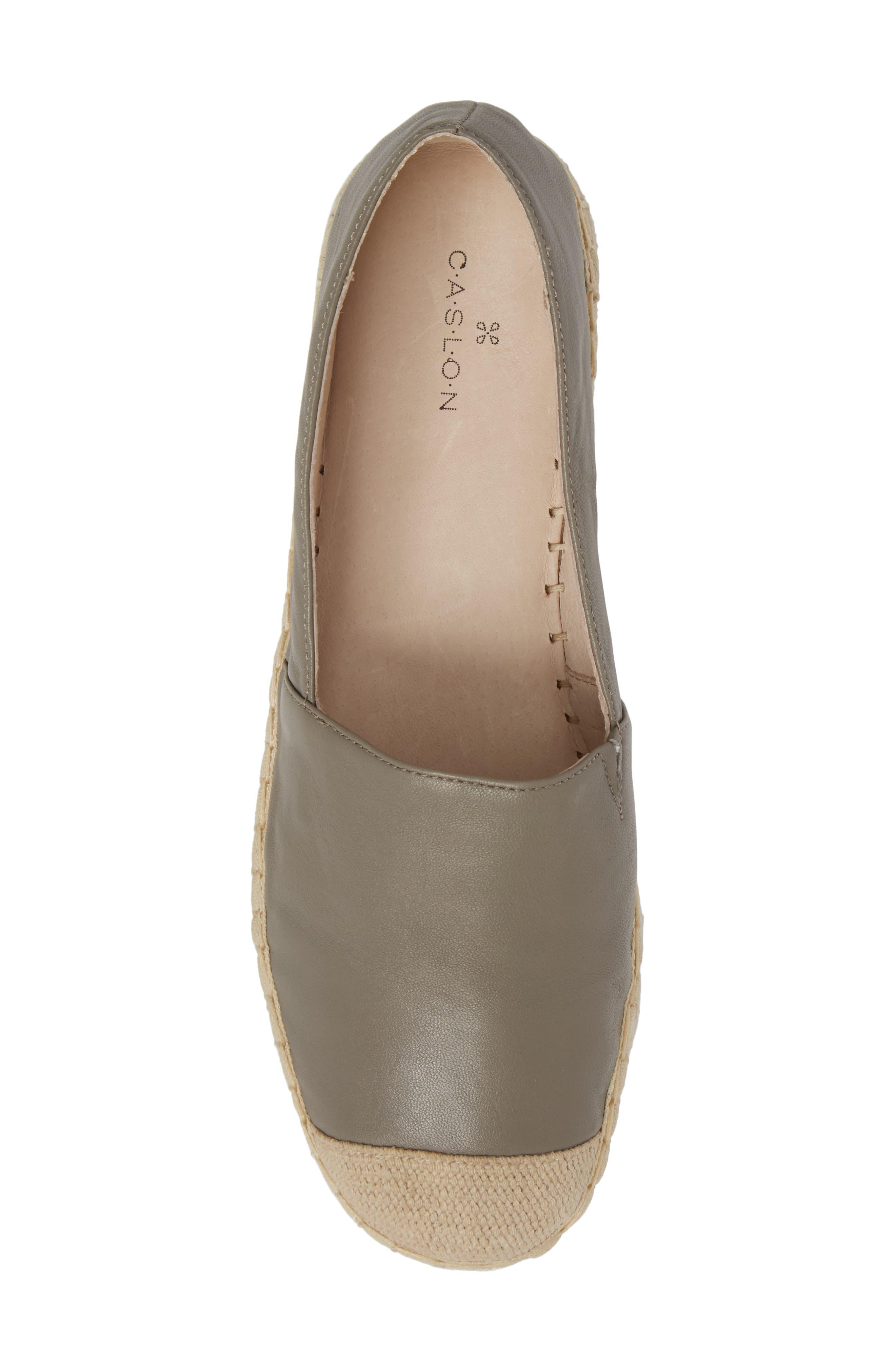 Collins Lea Espadrille Platform Slip-On,                             Alternate thumbnail 5, color,                             Grey Leather
