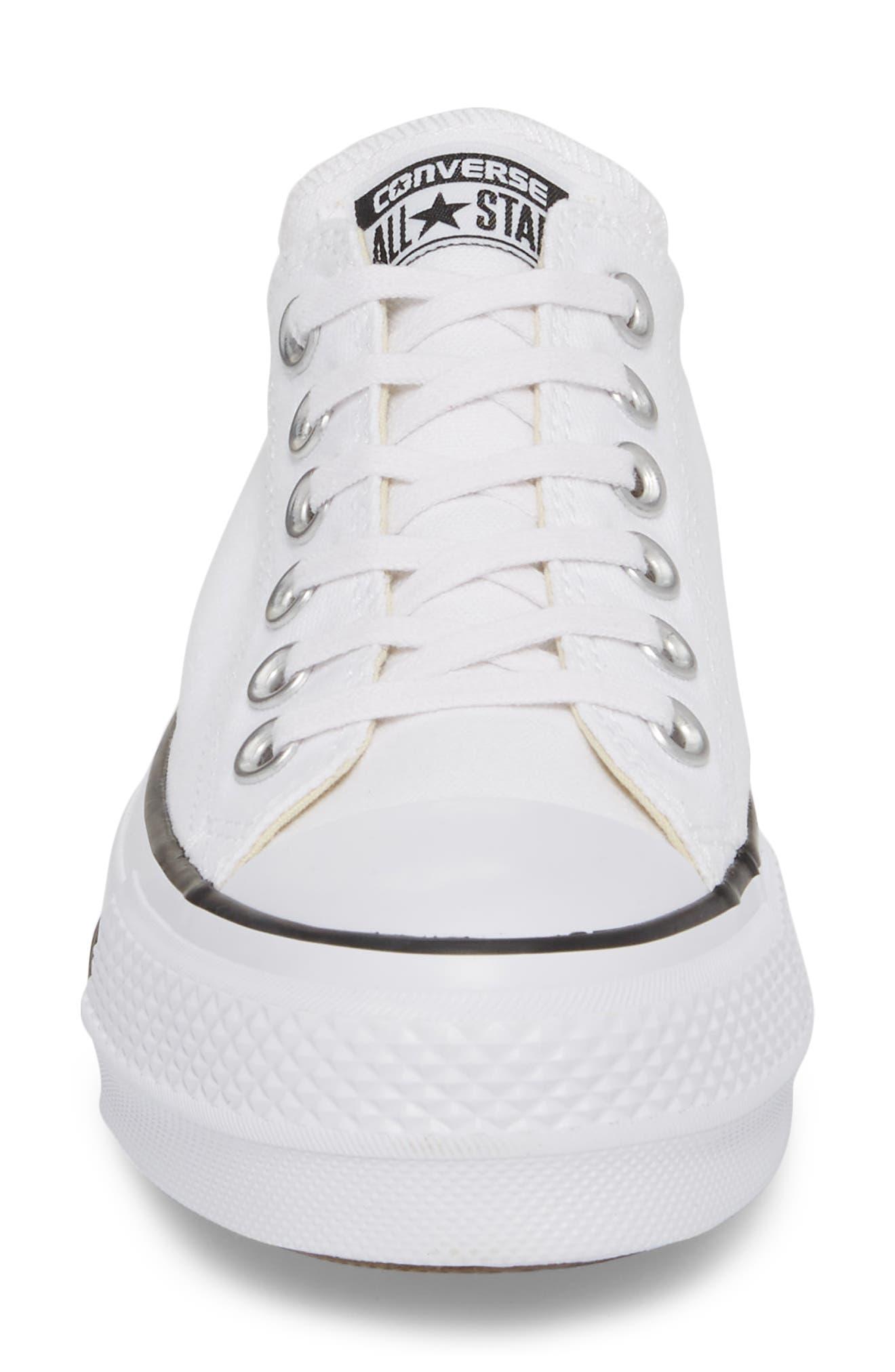 Chuck Taylor<sup>®</sup> All Star<sup>®</sup> Platform Sneaker,                             Alternate thumbnail 4, color,                             White/ Black/ White