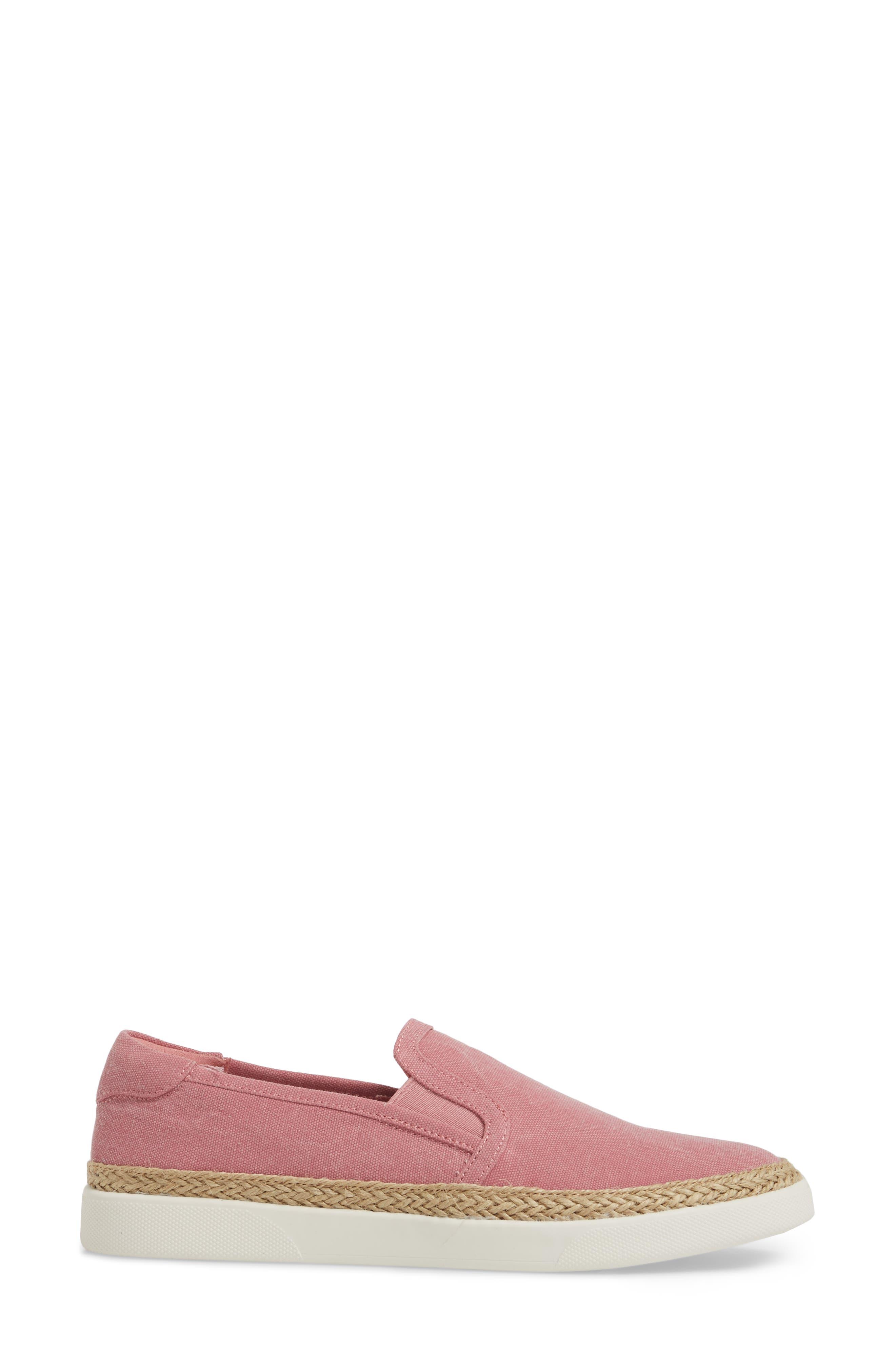 Rae Slip-On Sneaker,                             Alternate thumbnail 3, color,                             Light Pink Canvas