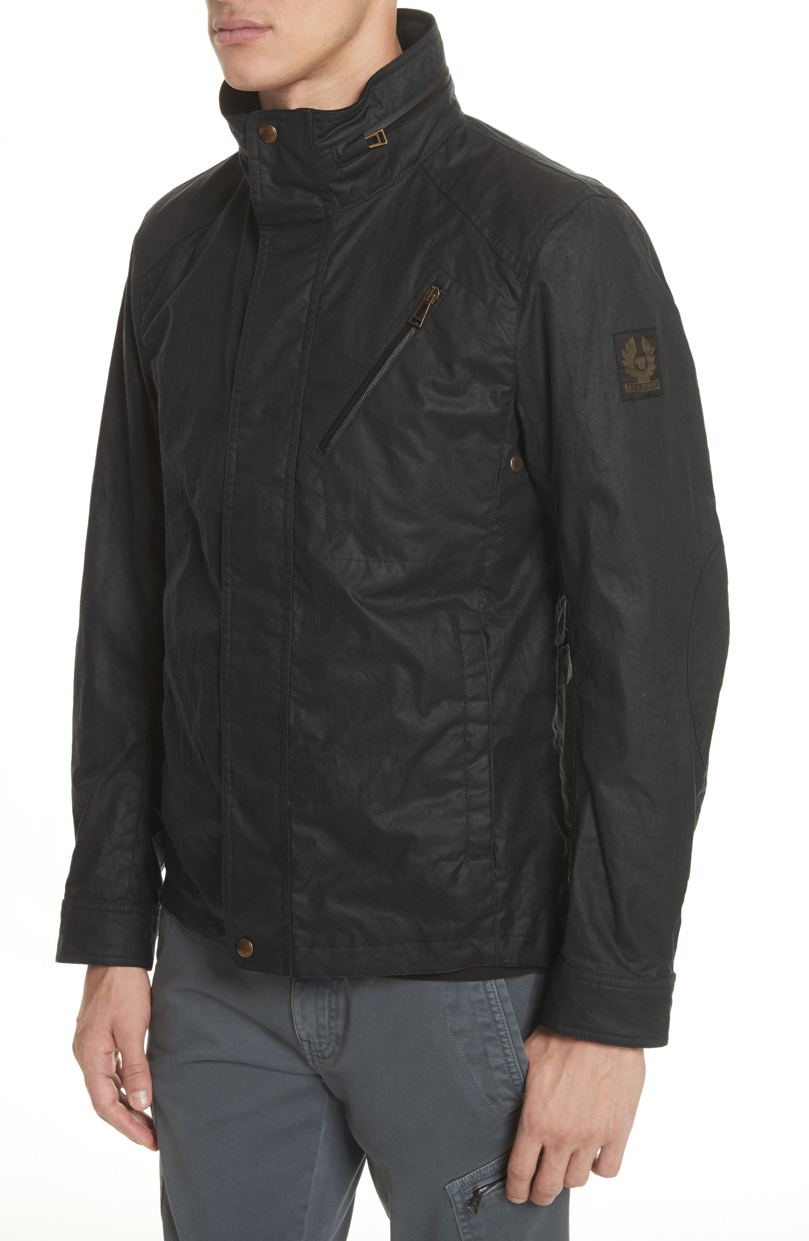Citymaster 2 Waxed Cotton Moto Jacket,                             Alternate thumbnail 4, color,                             Black