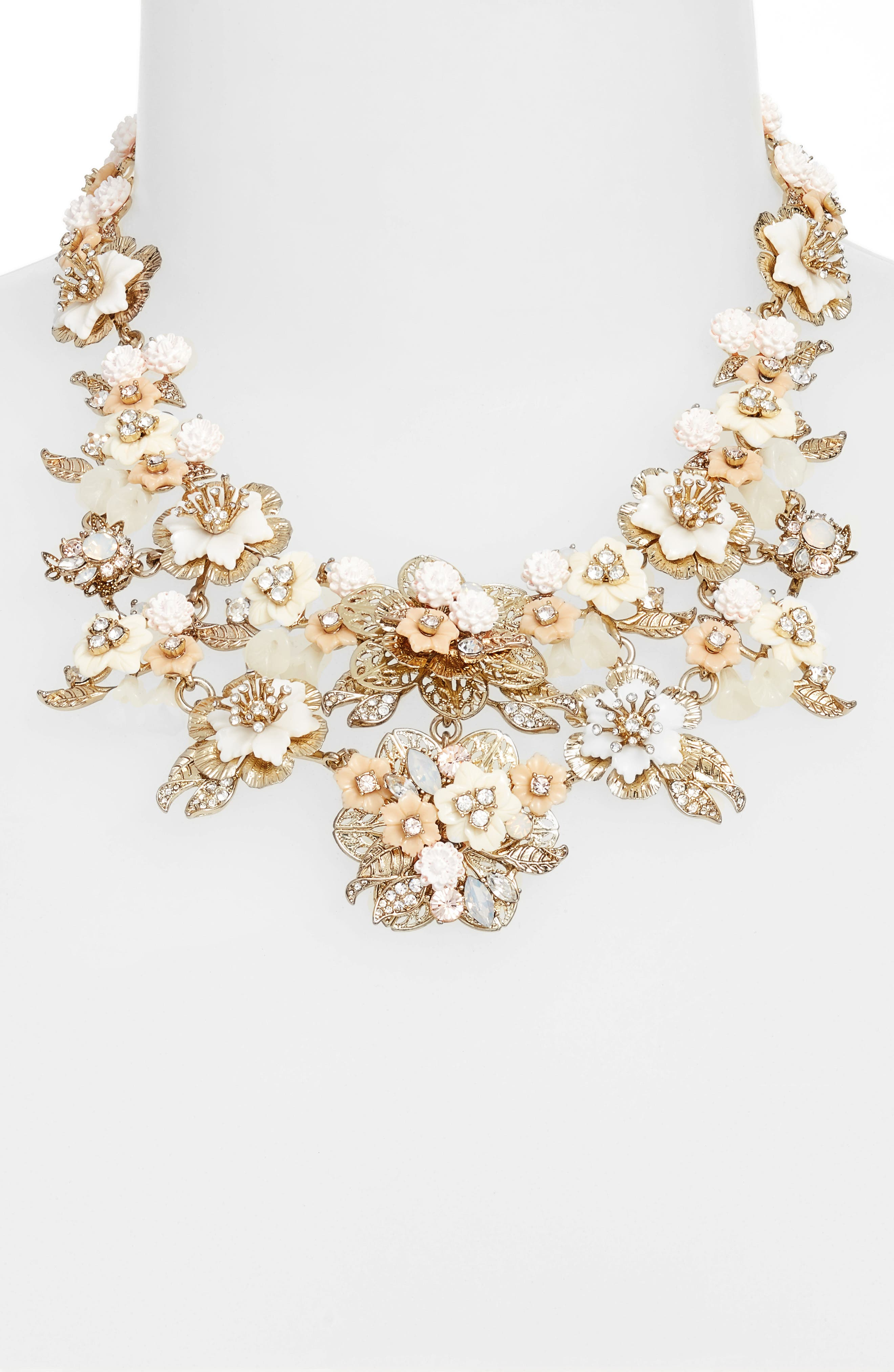 Floral Collar Necklace,                             Alternate thumbnail 2, color,                             Gold/ White Multi
