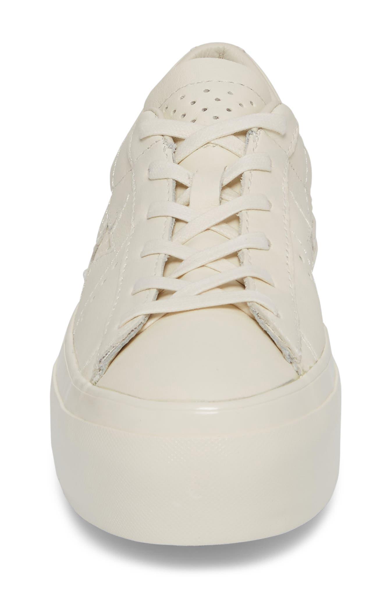 Chuck Taylor<sup>®</sup> All Star<sup>®</sup> One Star Platform Sneaker,                             Alternate thumbnail 4, color,                             Egret/ Egret