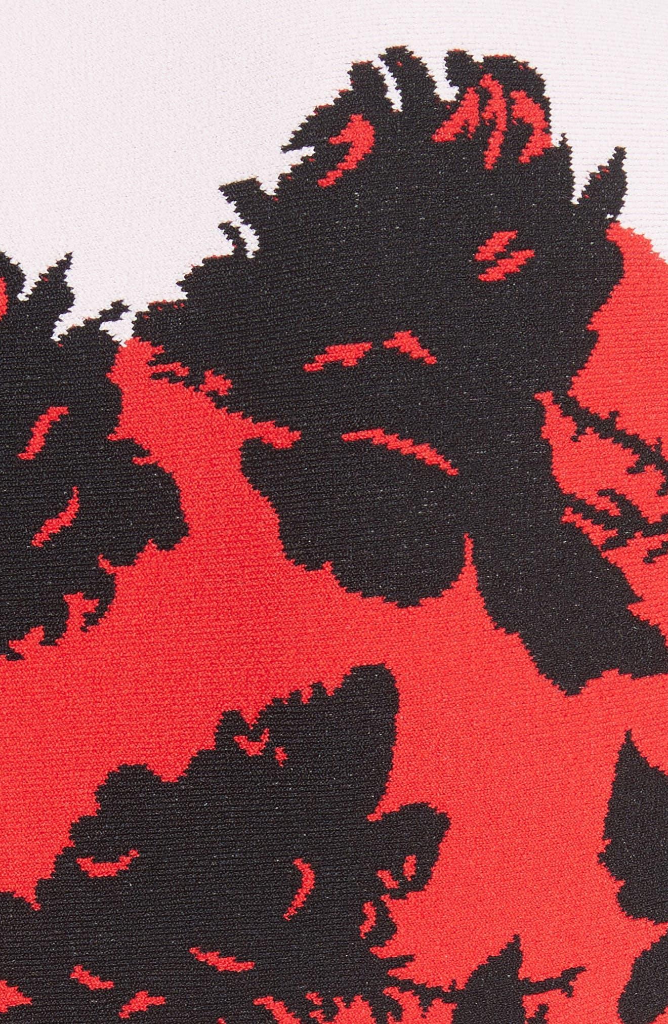 Rose Jacquard Knit Flounce Dress,                             Alternate thumbnail 5, color,                             Red/ Black/ Ivory/ Pink