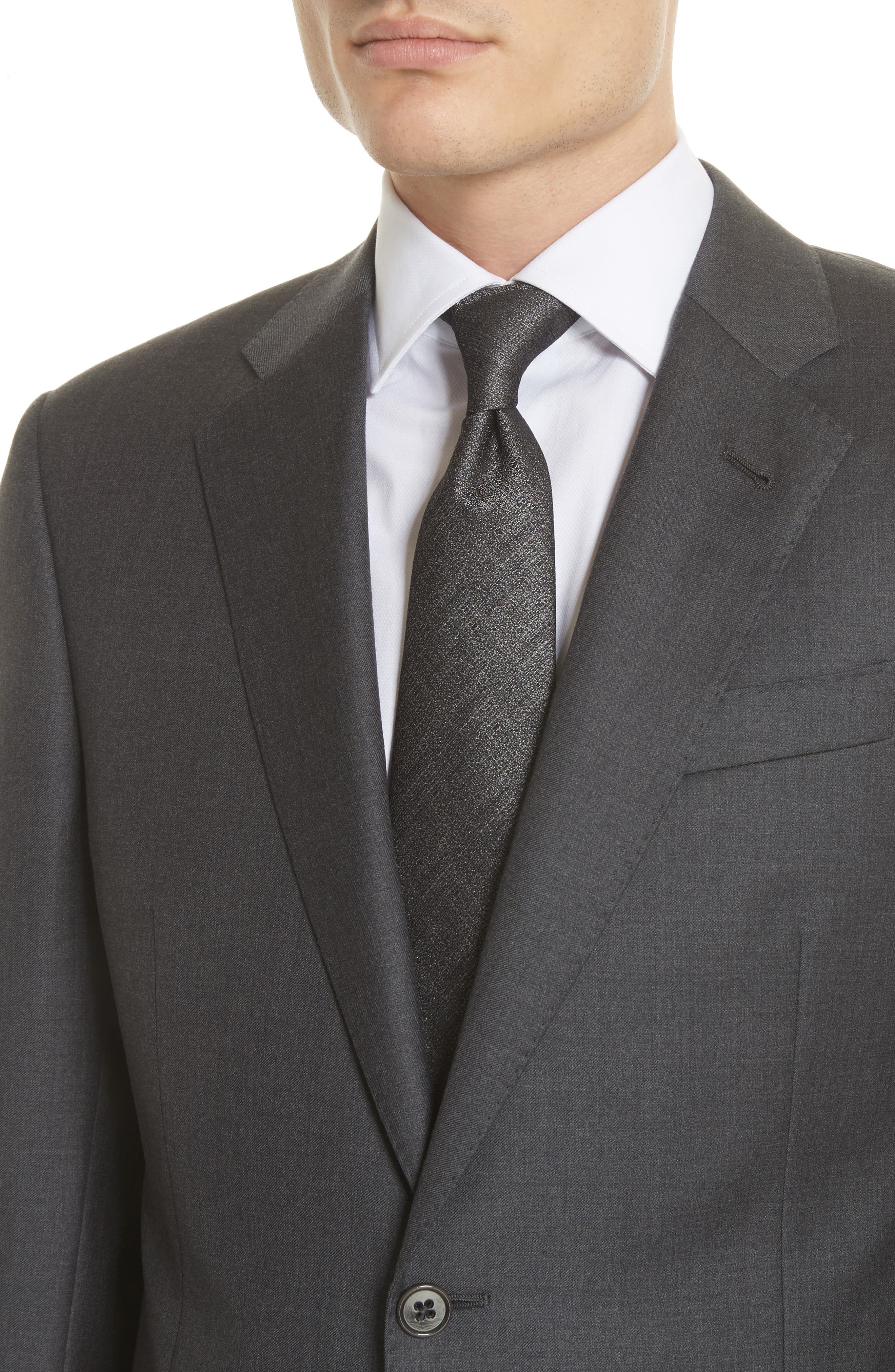 Trim Fit Solid Wool Suit,                             Alternate thumbnail 4, color,                             Grey