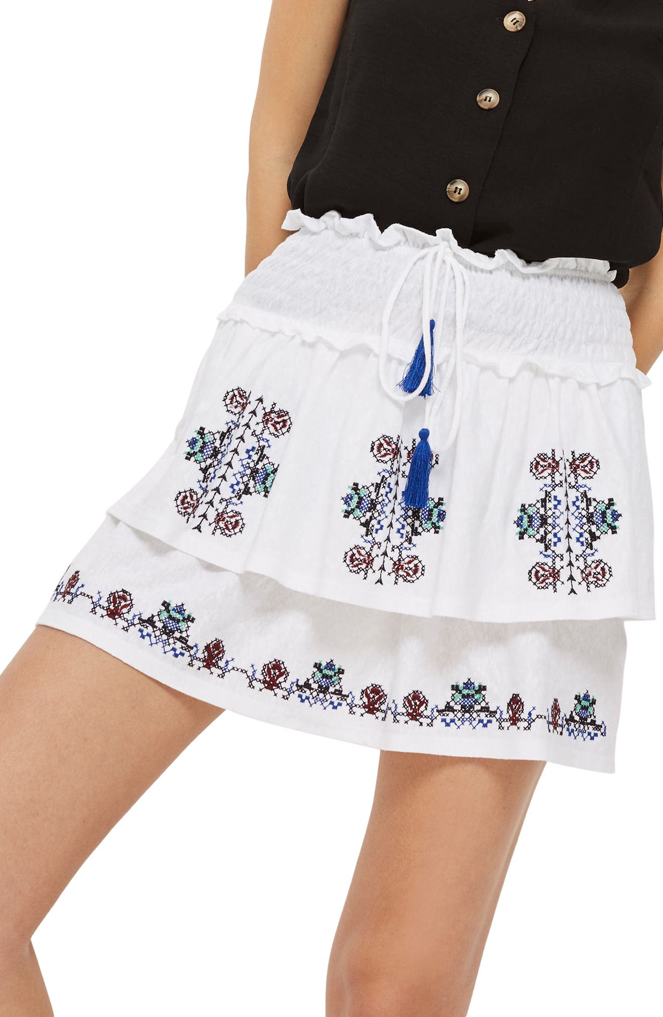 Topshop Embroidered Tiered Miniskirt