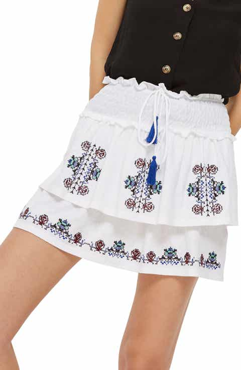 Topshop Embroidered Tiered Miniskirt Best Price