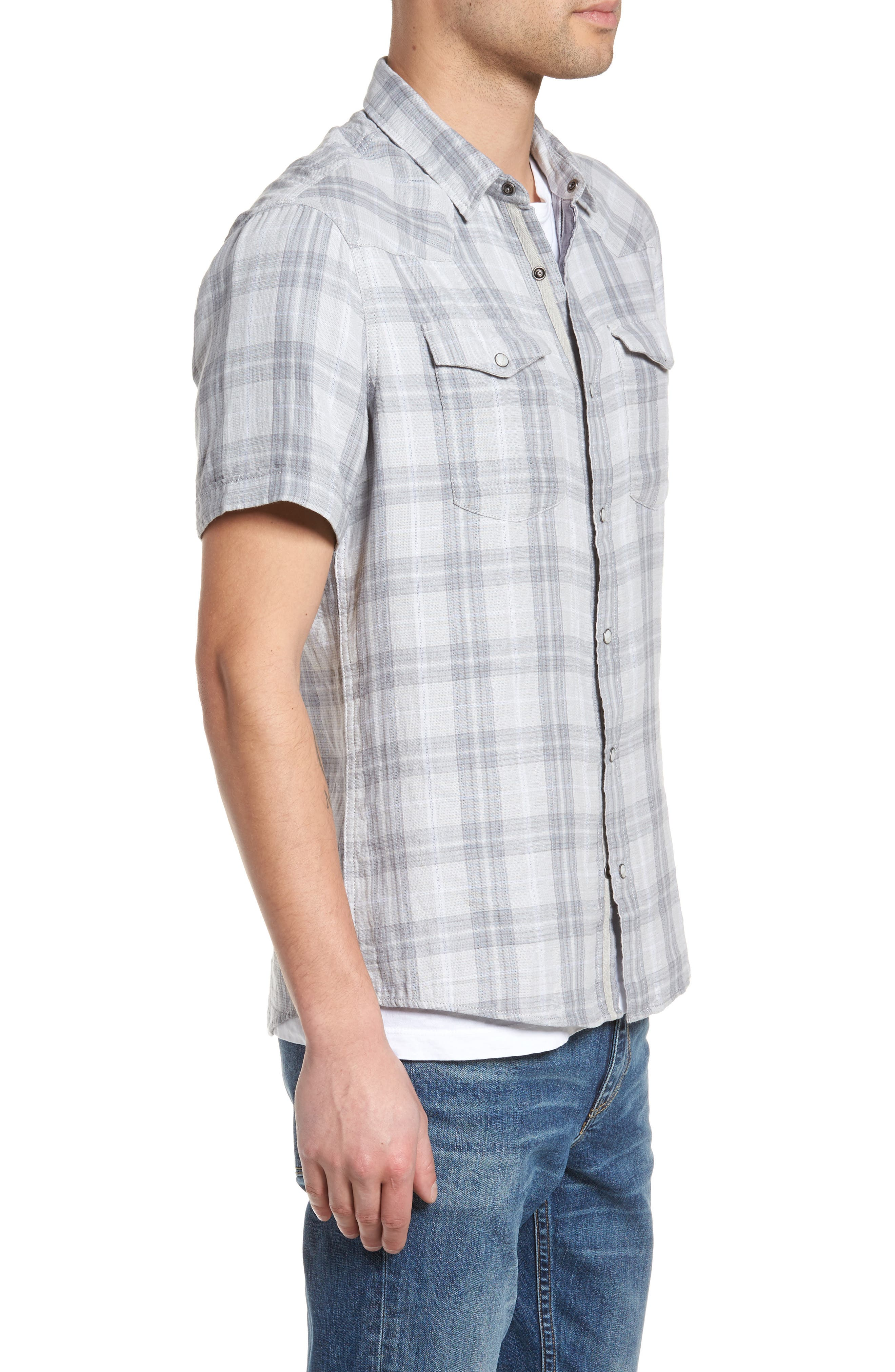 Plaid Short Sleeve Sport Shirt,                             Alternate thumbnail 3, color,                             Grey Sleet Plaid Duofold