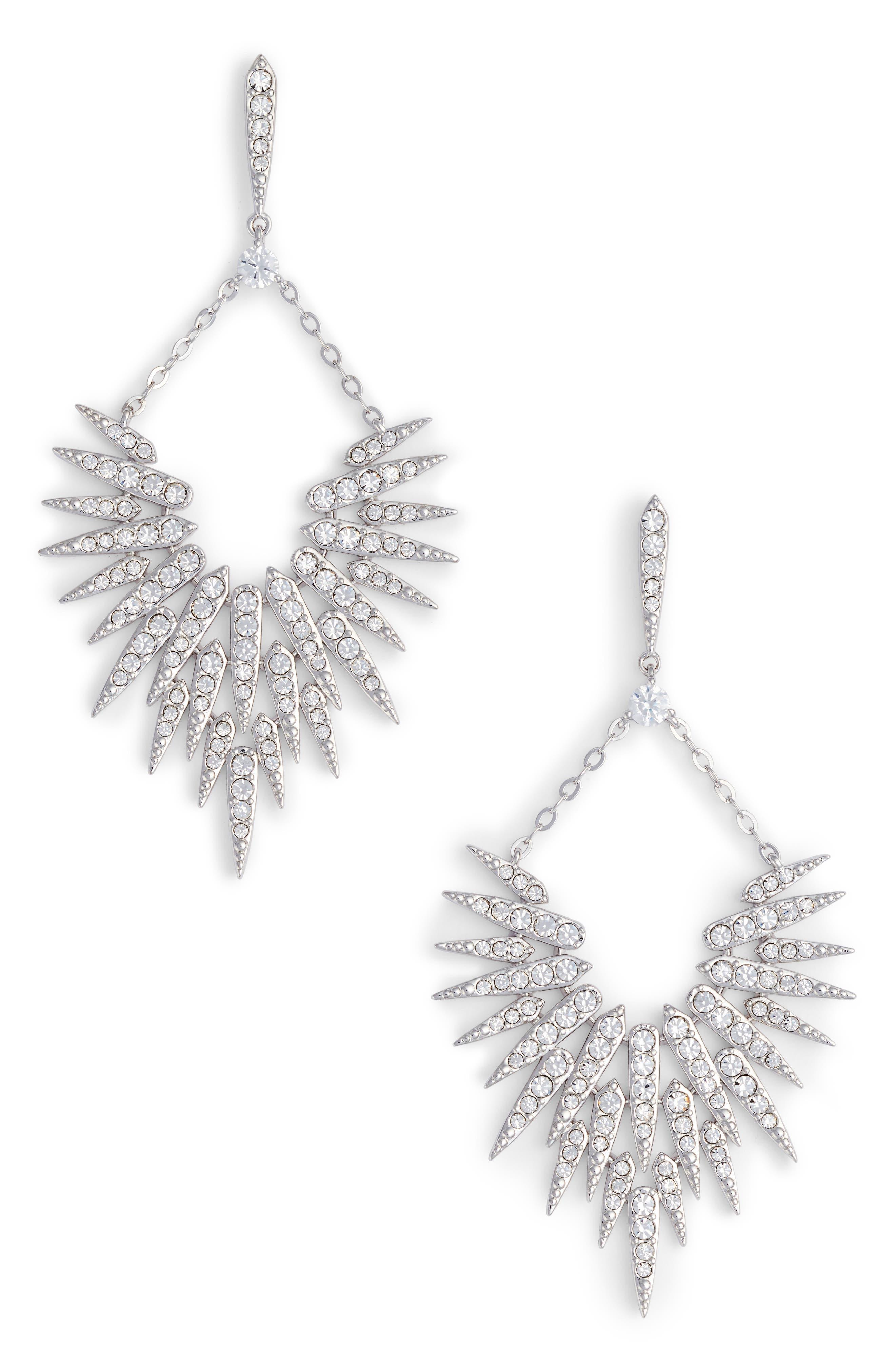 Cubic Zirconia Sunburst Drop Earrings,                             Main thumbnail 1, color,                             Silver