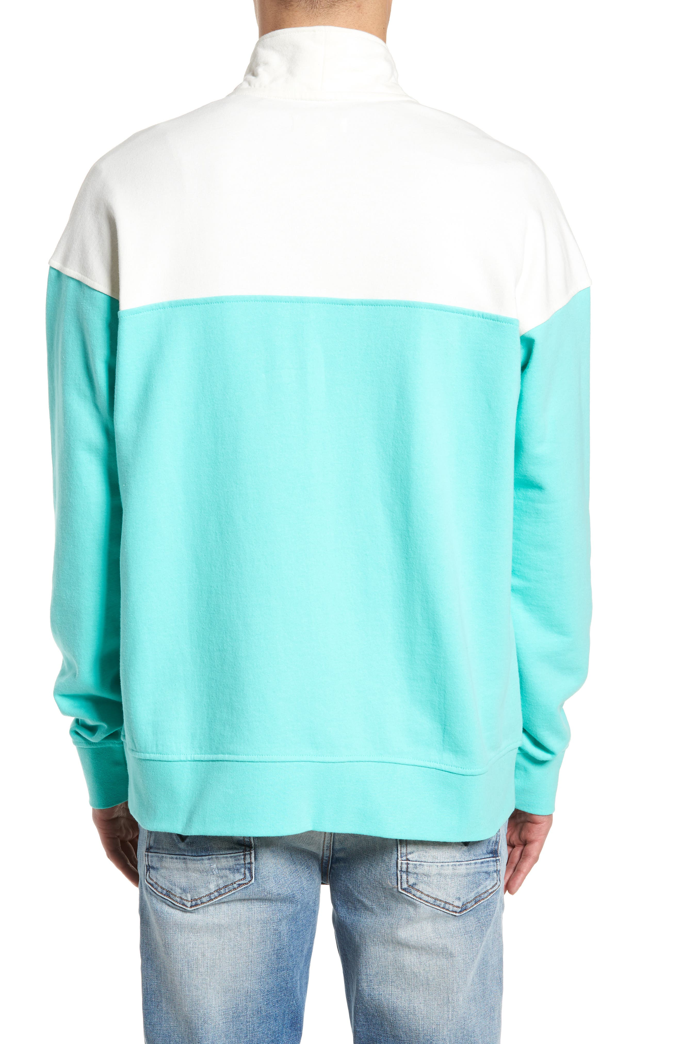 Colorblock Quarter Zip Sweatshirt,                             Alternate thumbnail 2, color,                             Ivory Egret/ Green Largo