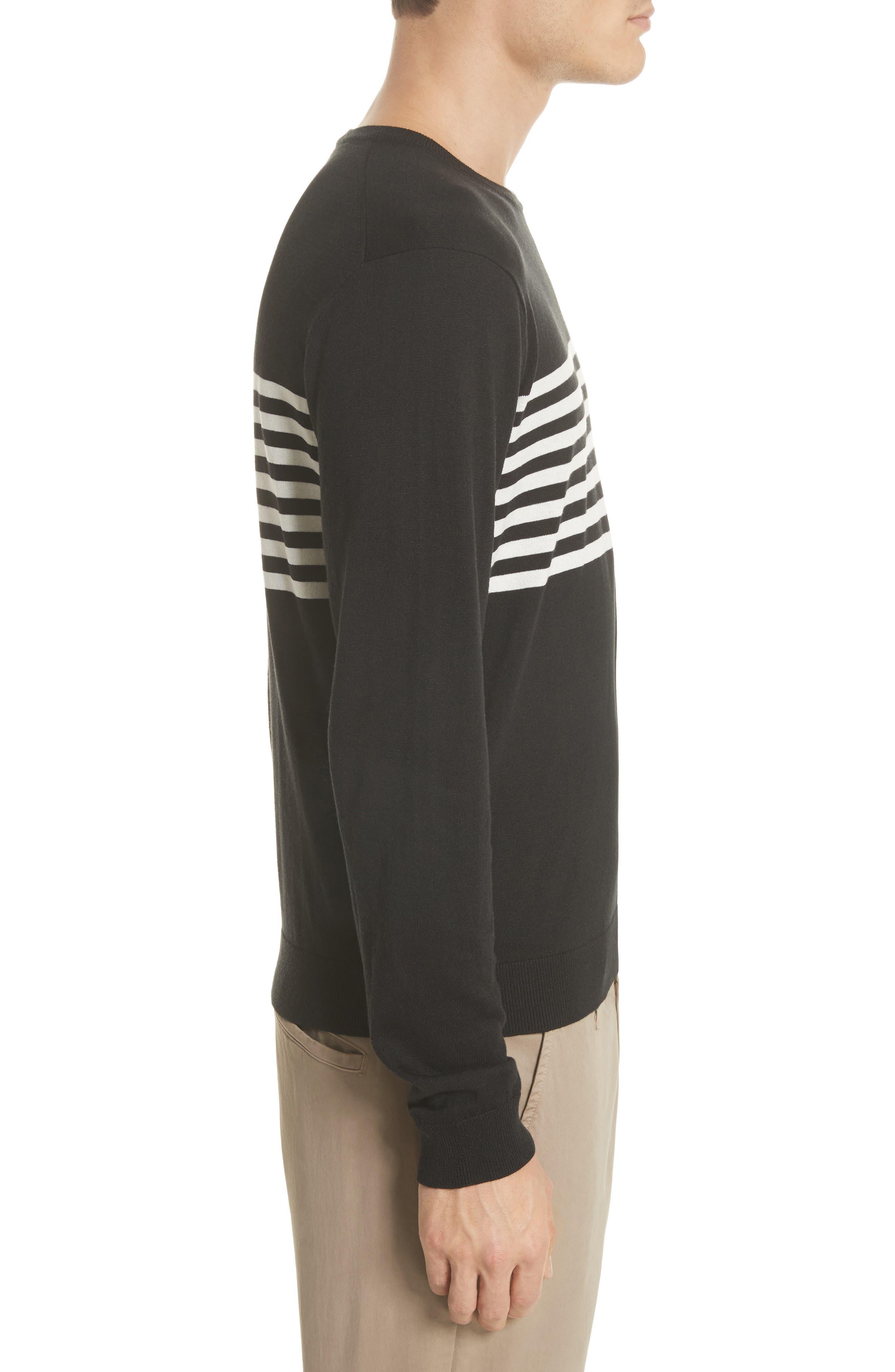 Stripe Silk & Cotton Sweater,                             Alternate thumbnail 3, color,                             Black