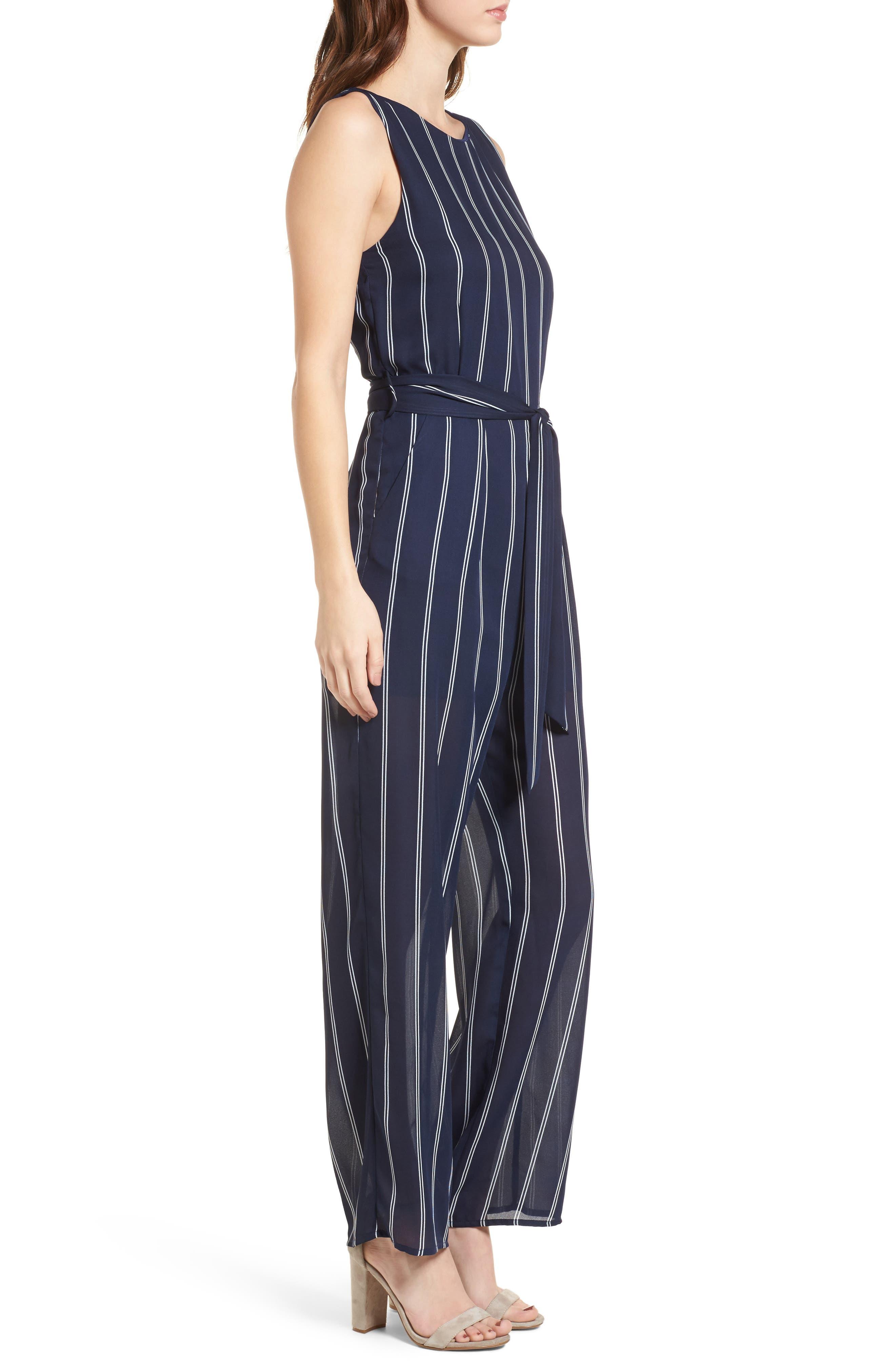 Stripe Jumpsuit,                             Alternate thumbnail 3, color,                             Navy/Ivory
