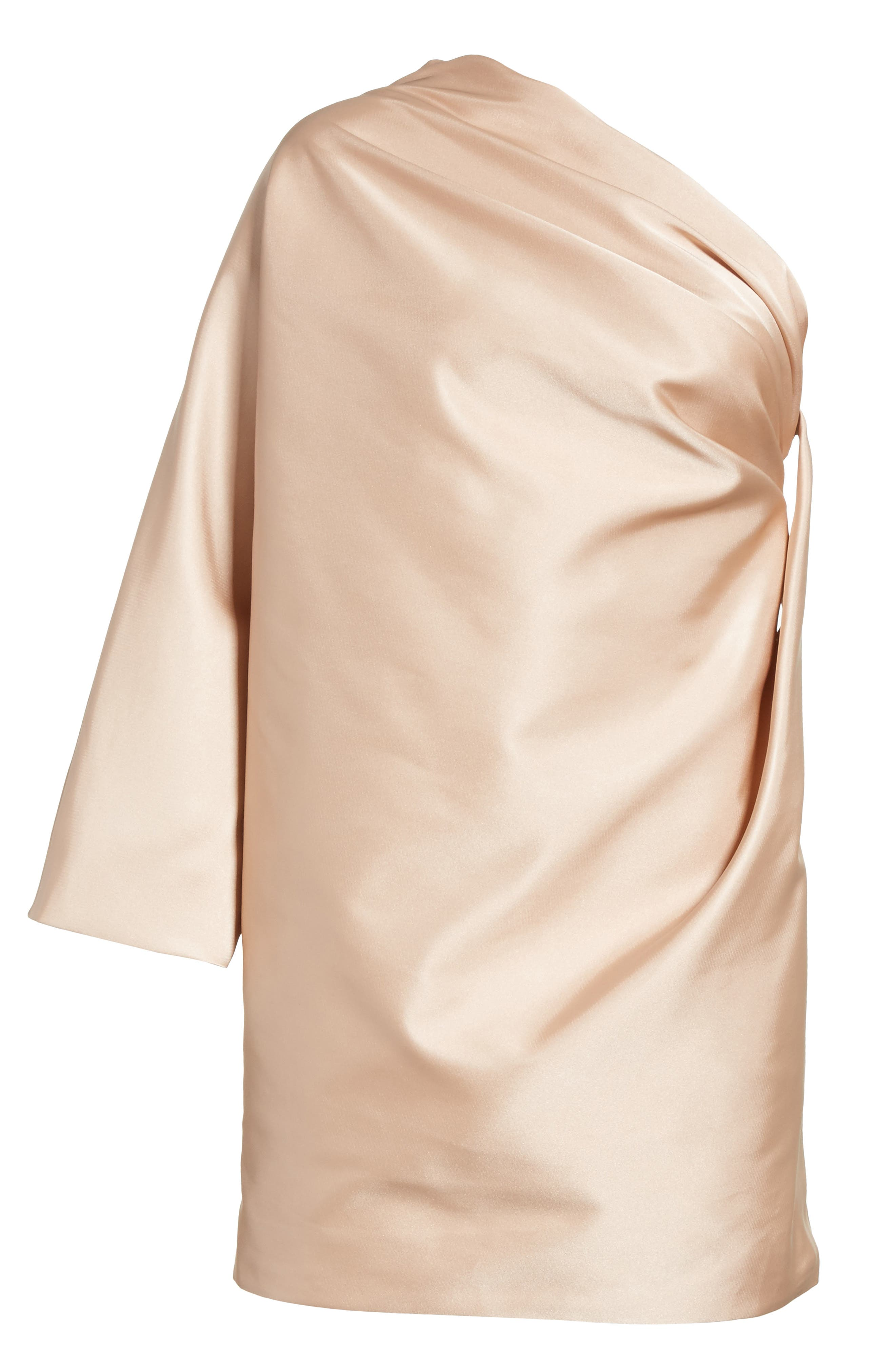 One-Shoulder Gathered Dress,                             Alternate thumbnail 6, color,                             Champagne