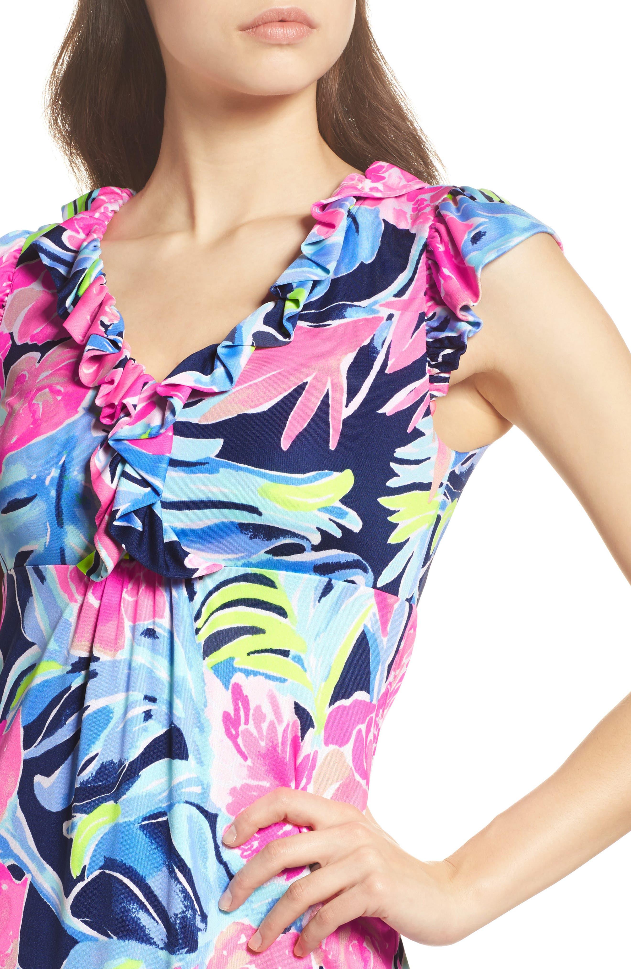 Clare Floral Silk A-Line Dress,                             Alternate thumbnail 4, color,                             High Tide Tropicolada