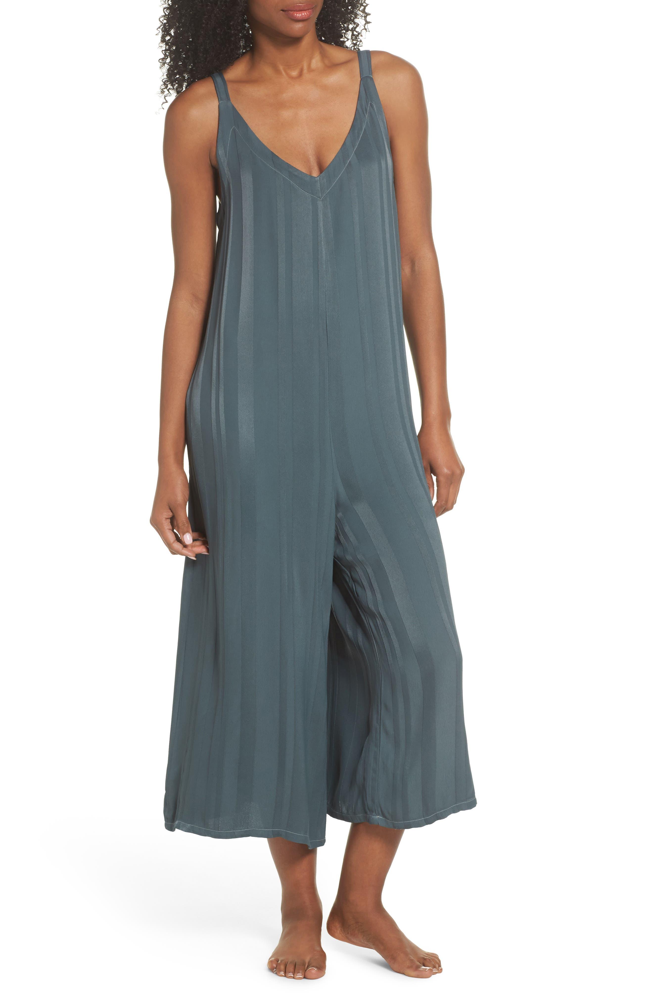 Sienna Crop Lounge Jumpsuit,                         Main,                         color, Sage