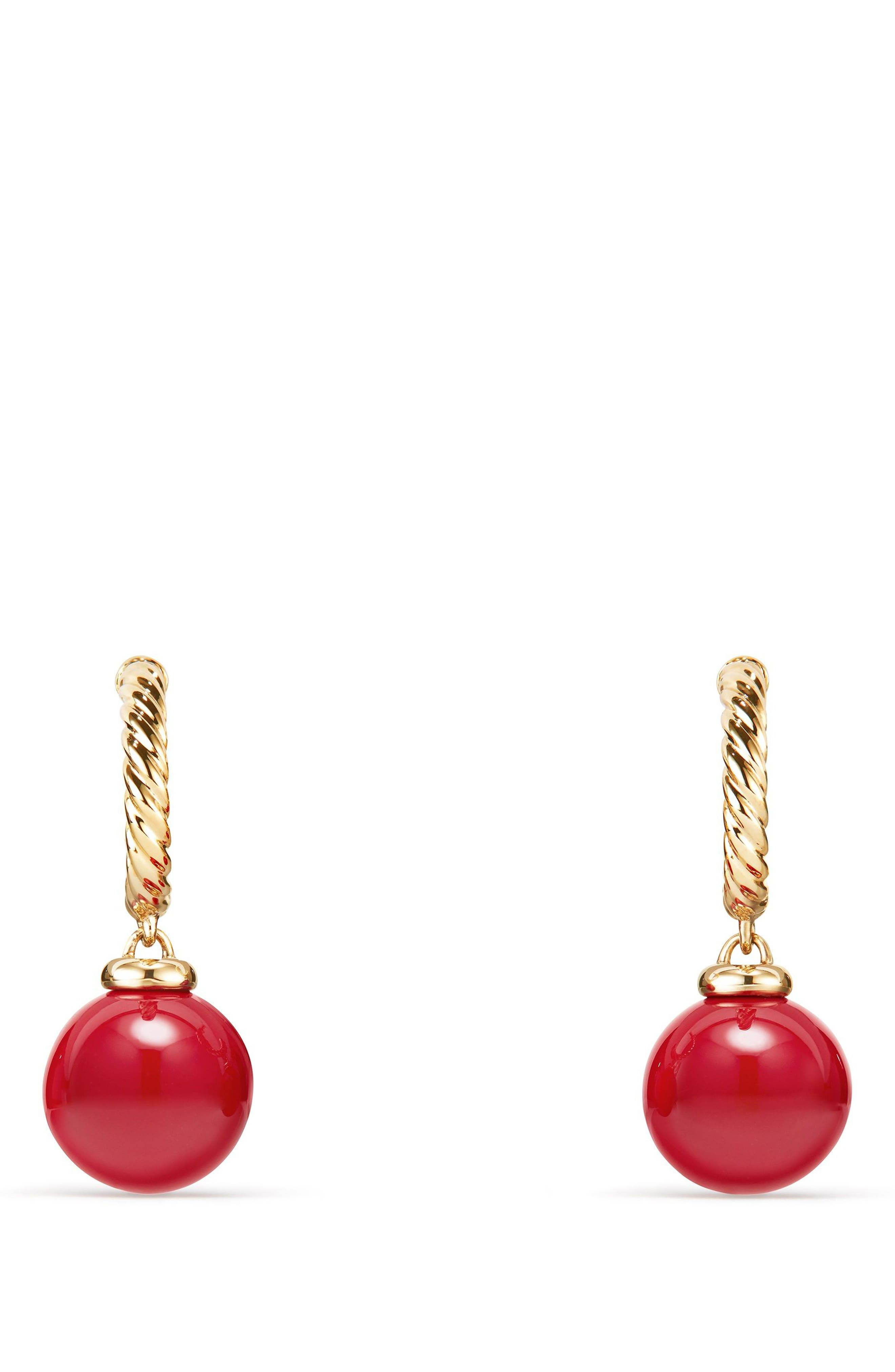 Solari Hoop Earrings with 18K Gold and Red Enamel,                             Alternate thumbnail 2, color,                             Yellow Gold/ Red