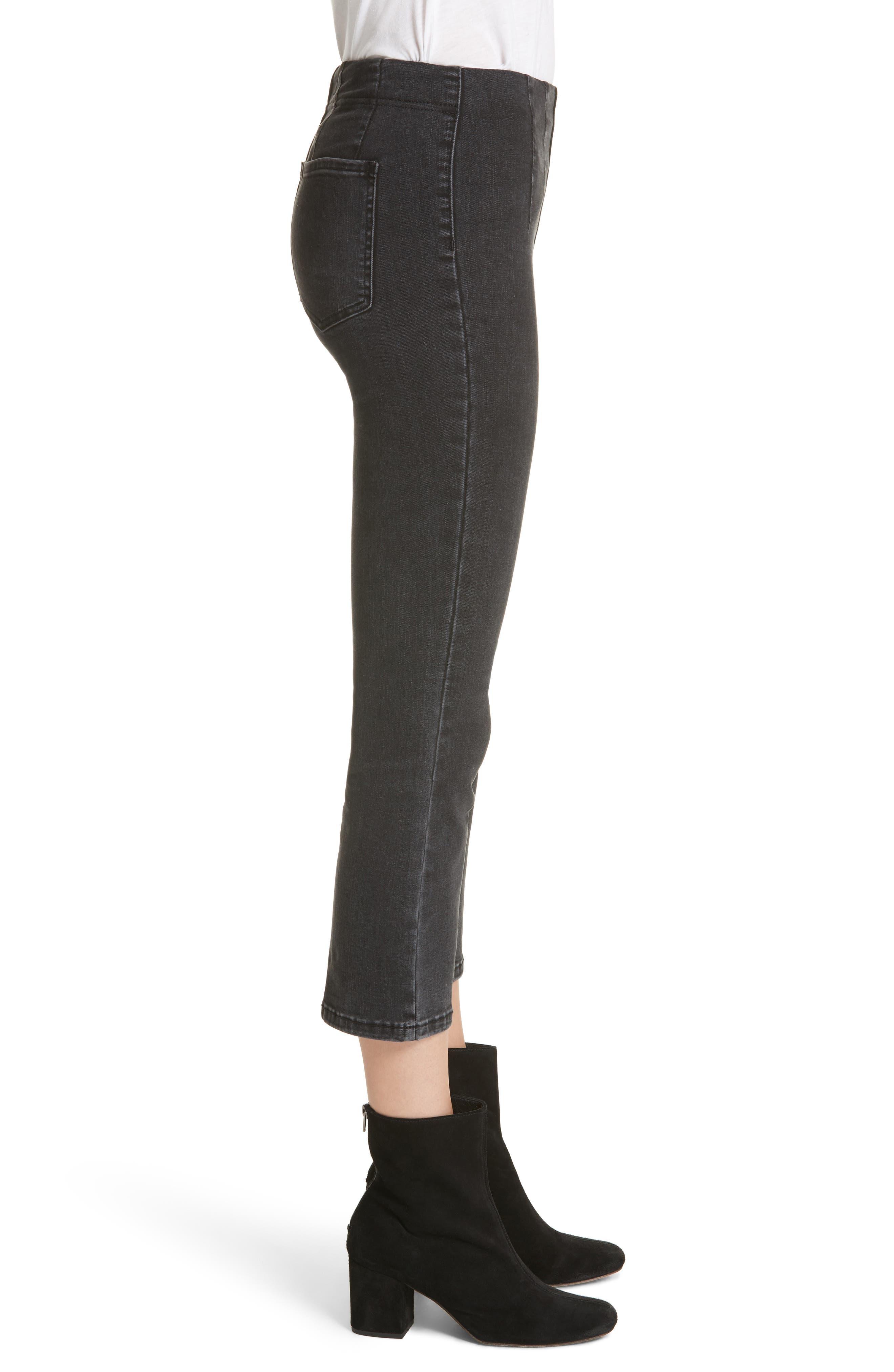 Ultra High Waist Crop Bootcut Jeans,                             Alternate thumbnail 3, color,                             Black