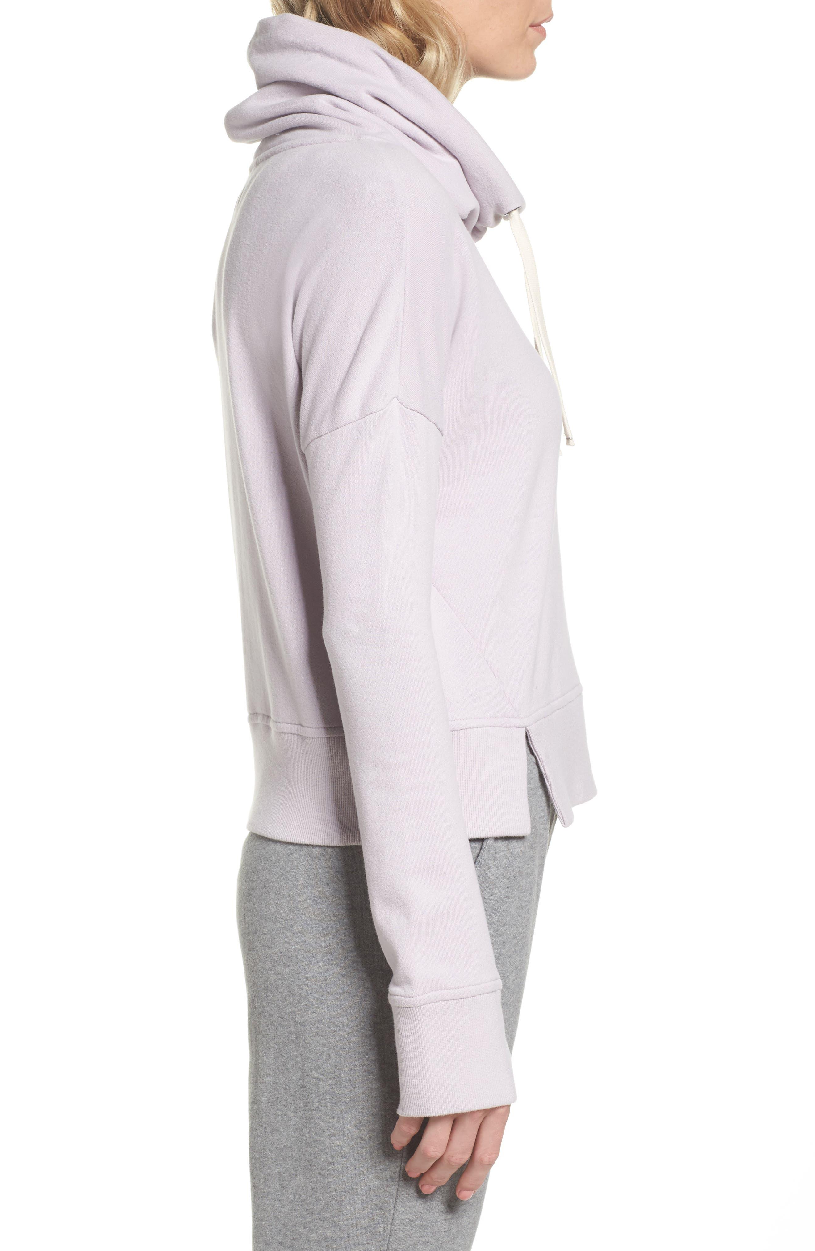 Miya Funnel Neck Sweatshirt,                             Alternate thumbnail 3, color,                             Lavender Fog